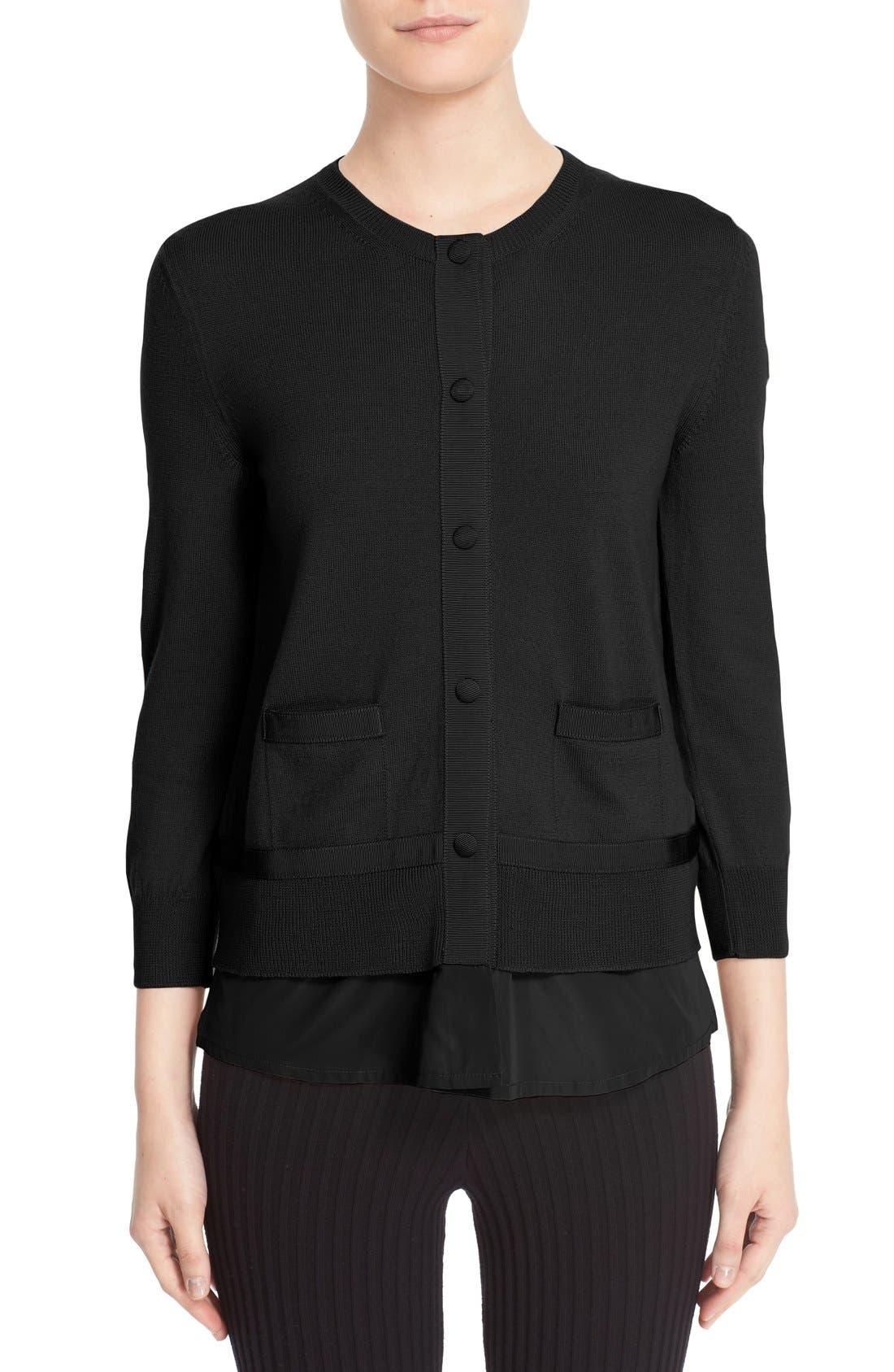 Mixed Media Cardigan,                         Main,                         color, Black