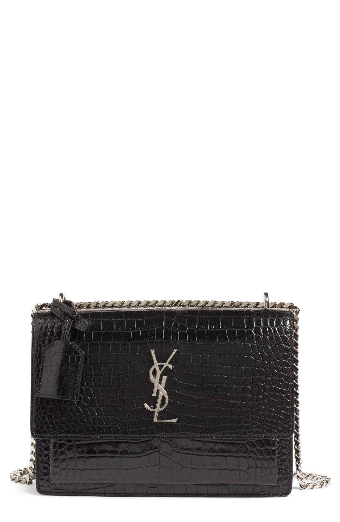 'Medium Monogram Sunset' Croc Embossed Leather Shoulder Bag,                             Main thumbnail 1, color,                             Nero