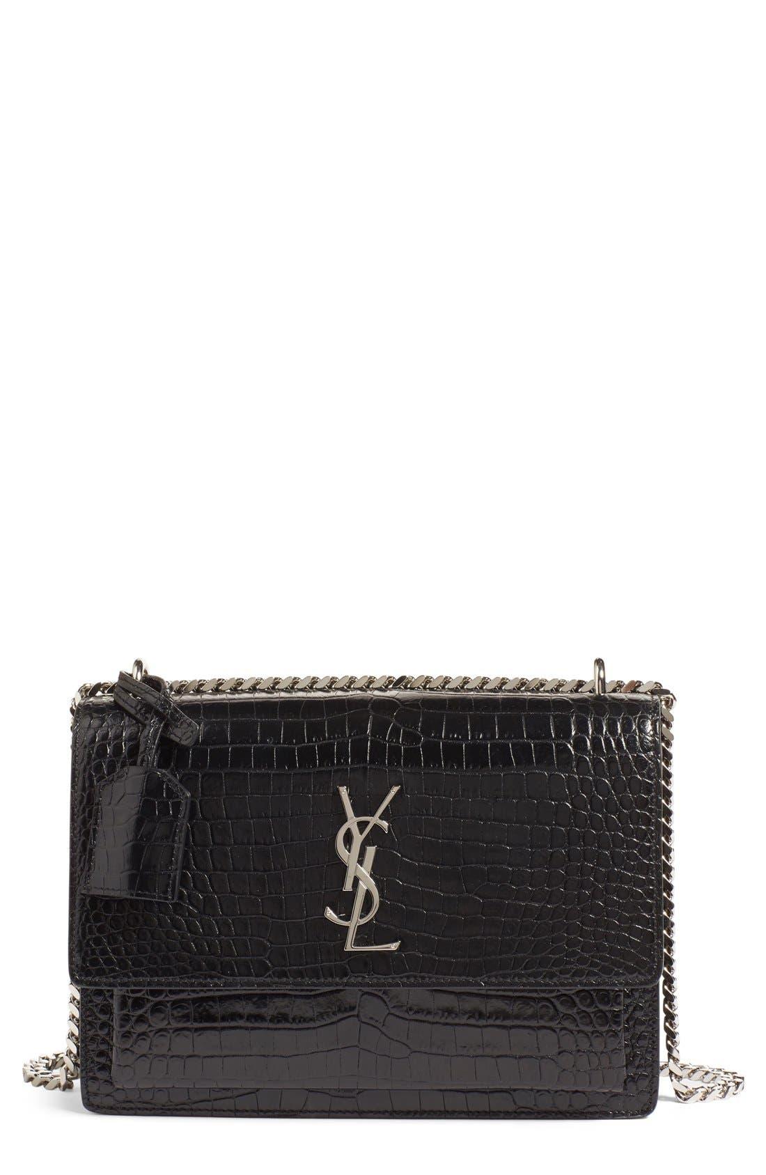 'Medium Monogram Sunset' Croc Embossed Leather Shoulder Bag,                         Main,                         color, Nero
