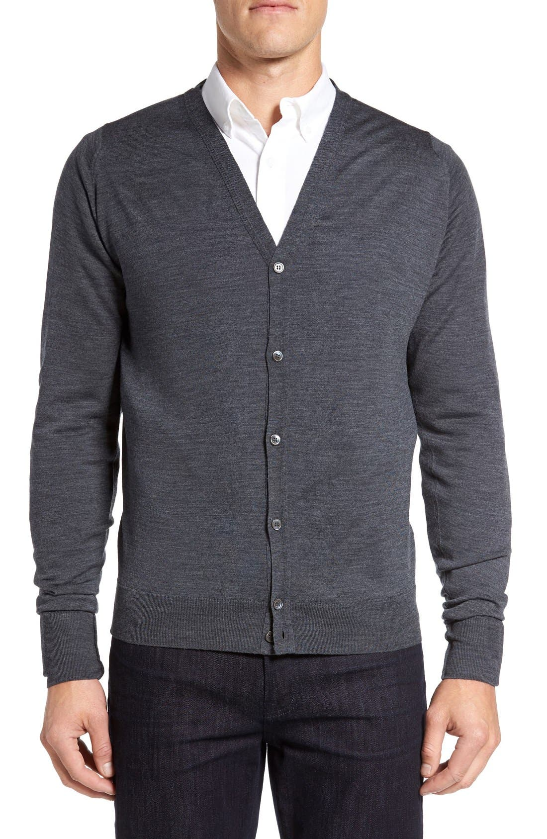 'Bryn' Easy Fit Wool Button Cardigan,                         Main,                         color, Charcoal