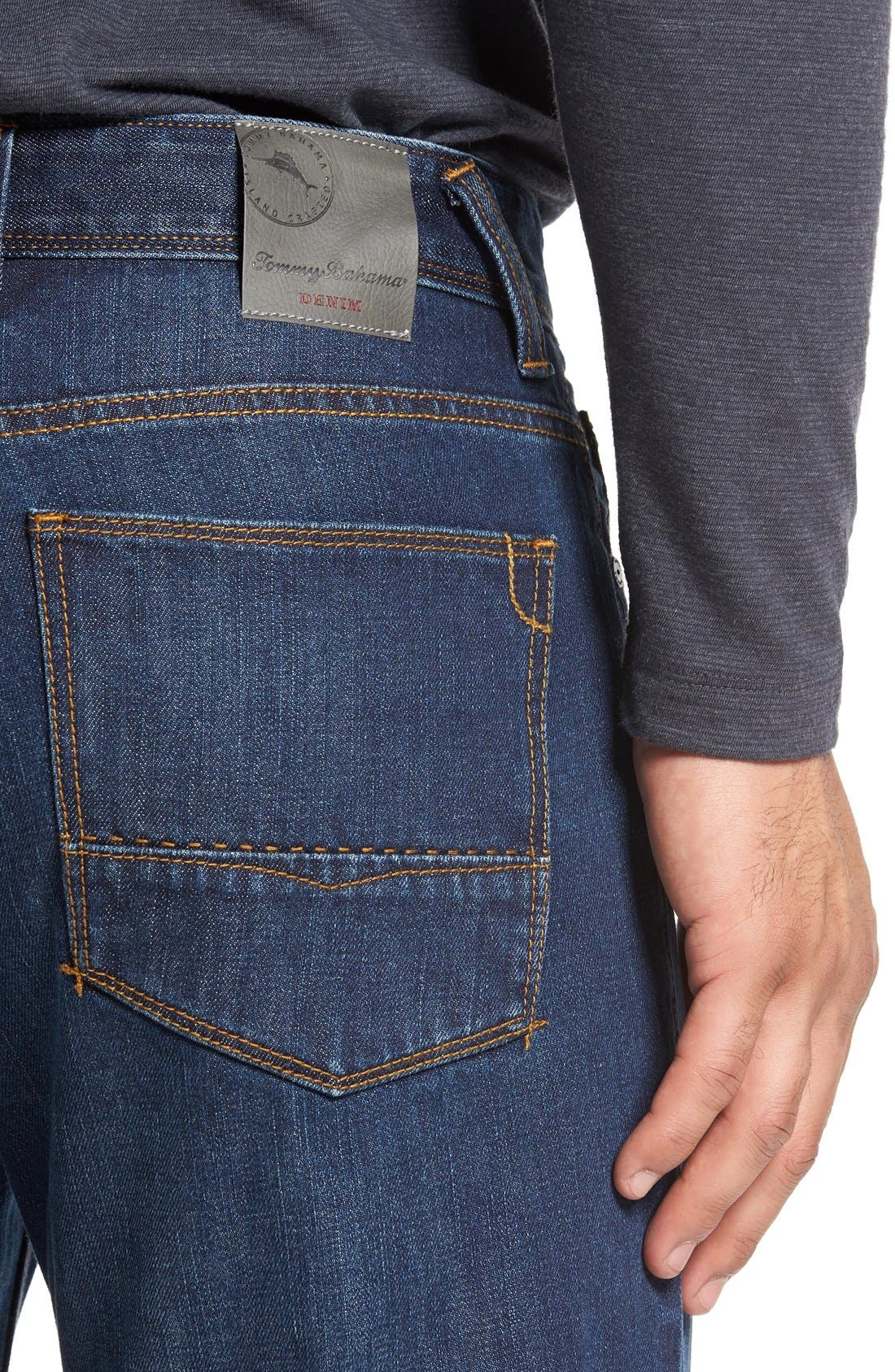 'Santorini' Relaxed Fit Jeans,                             Alternate thumbnail 4, color,                             Dark Indigo Wash