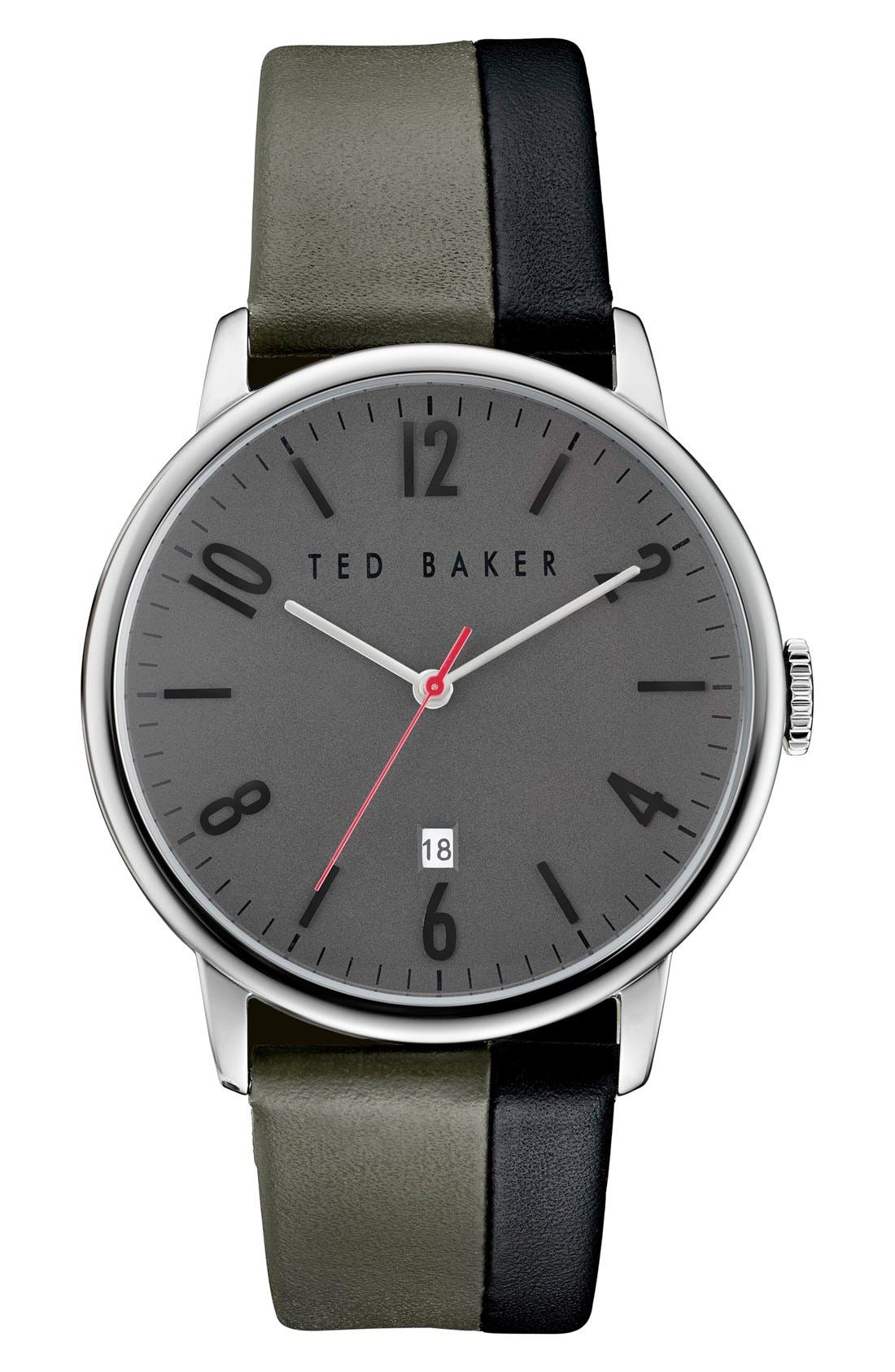 TED BAKER LONDON Modern Vintage Leather Strap Watch, 42mm