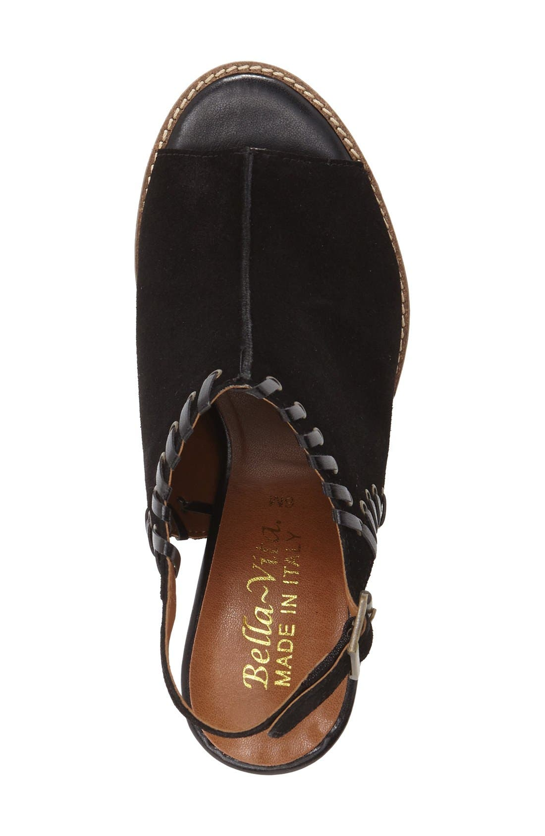 'Ora' Block Heel Slingback Sandal,                             Alternate thumbnail 3, color,                             Black Suede