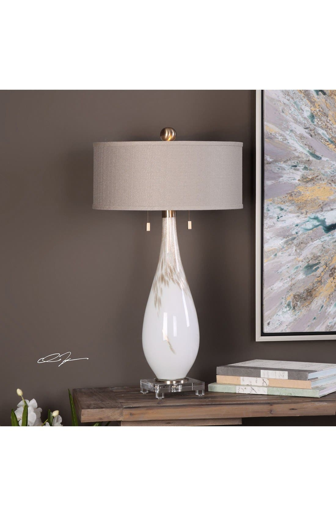 White Glass Table Lamp,                             Alternate thumbnail 2, color,                             White