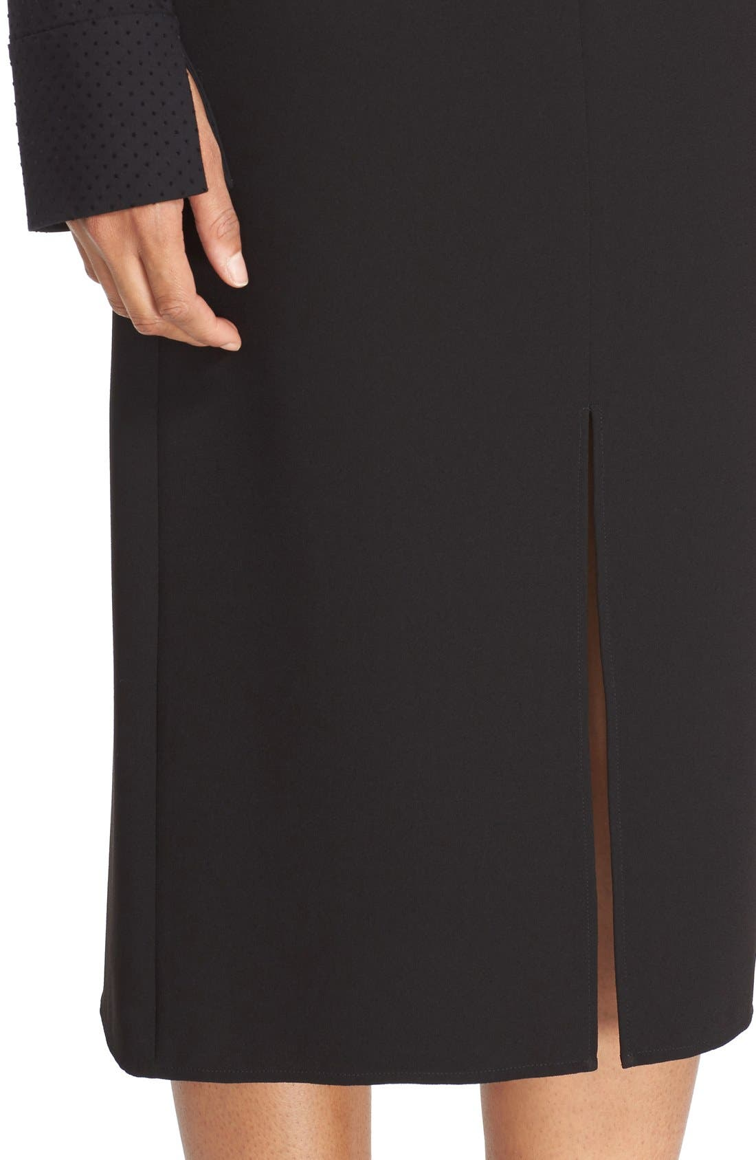 Double Slit Crepe Skirt,                             Alternate thumbnail 4, color,                             Black