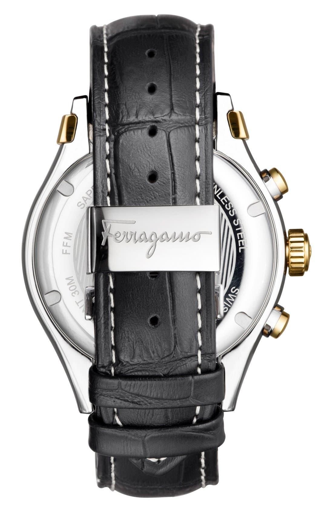 Alternate Image 2  - Salvatore Ferragamo '1898' Chronograph Leather Strap Watch, 42mm