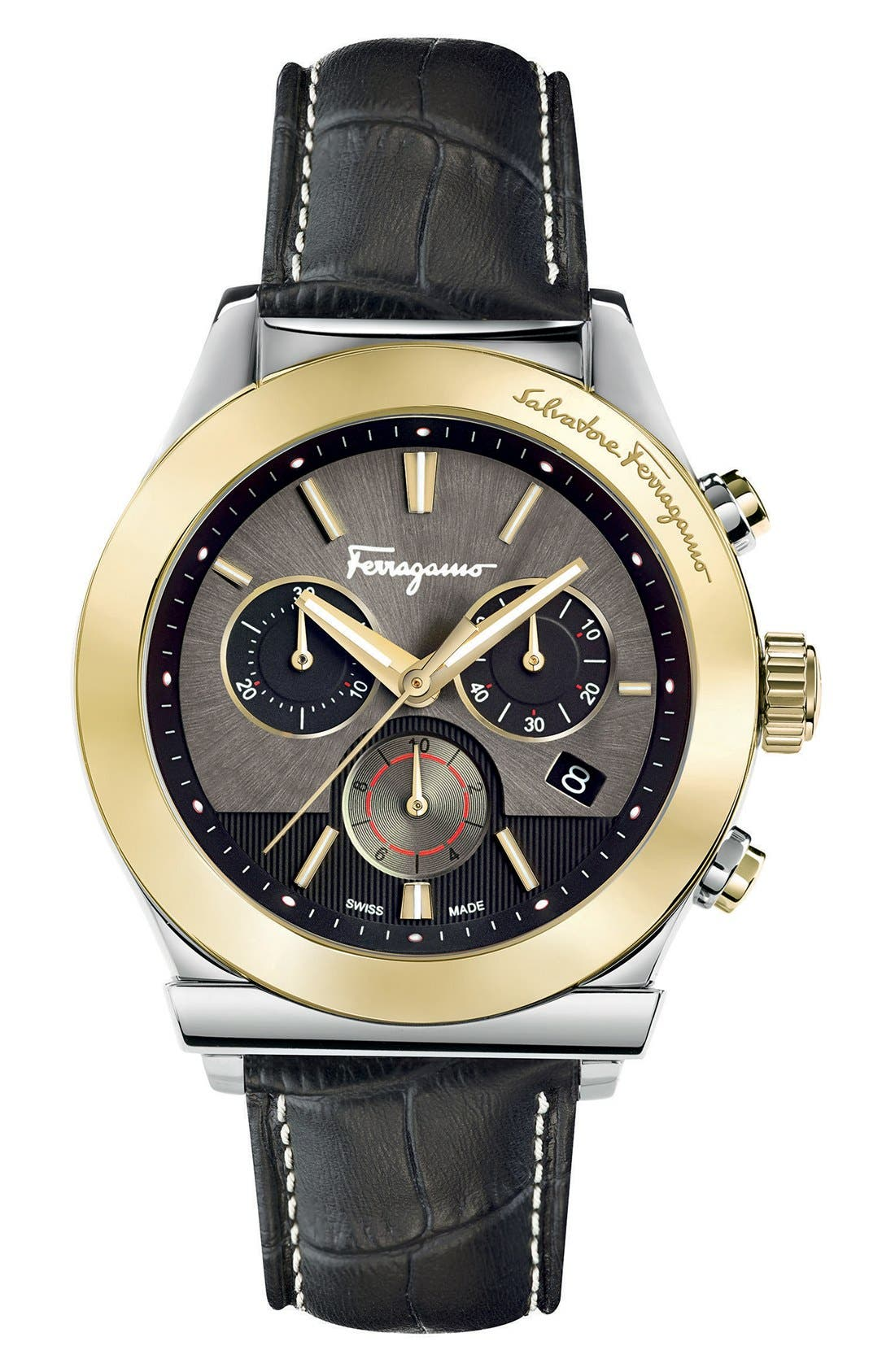 Salvatore Ferragamo '1898' Chronograph Leather Strap Watch, 42mm