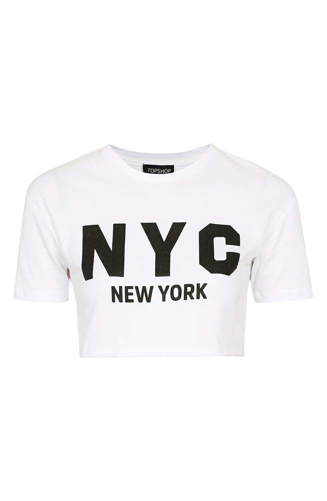 Alternate Image 4  - Topshop New York Graphic Crop Top (Regular & Petite)
