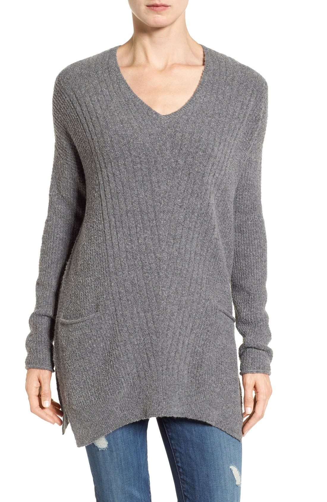 Caslon® Long Shark Bite Hem Sweater (Regular & Petite)