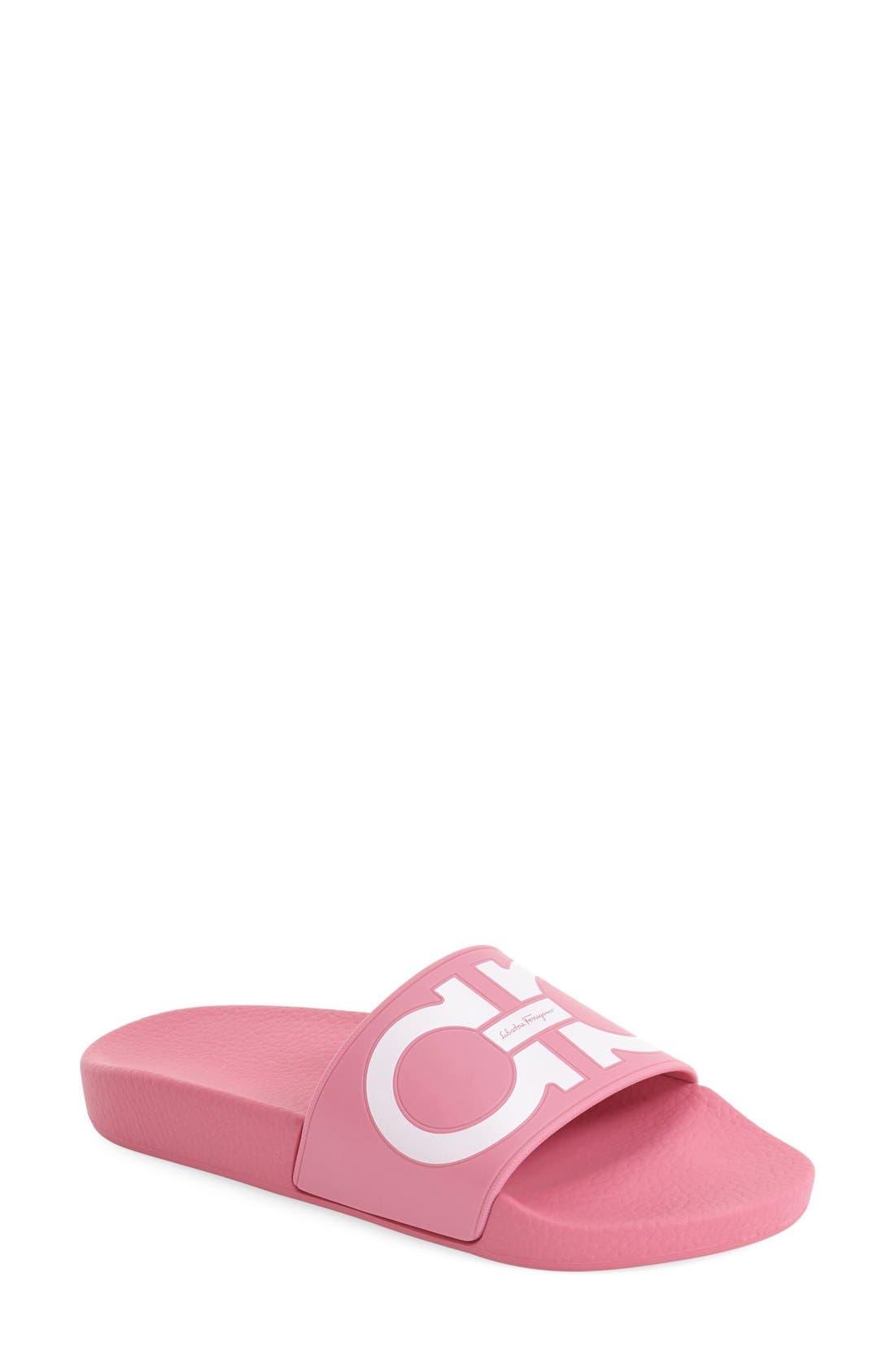 Groove Logo Slide Sandal,                             Main thumbnail 1, color,                             Bubble Gum Pink/ White