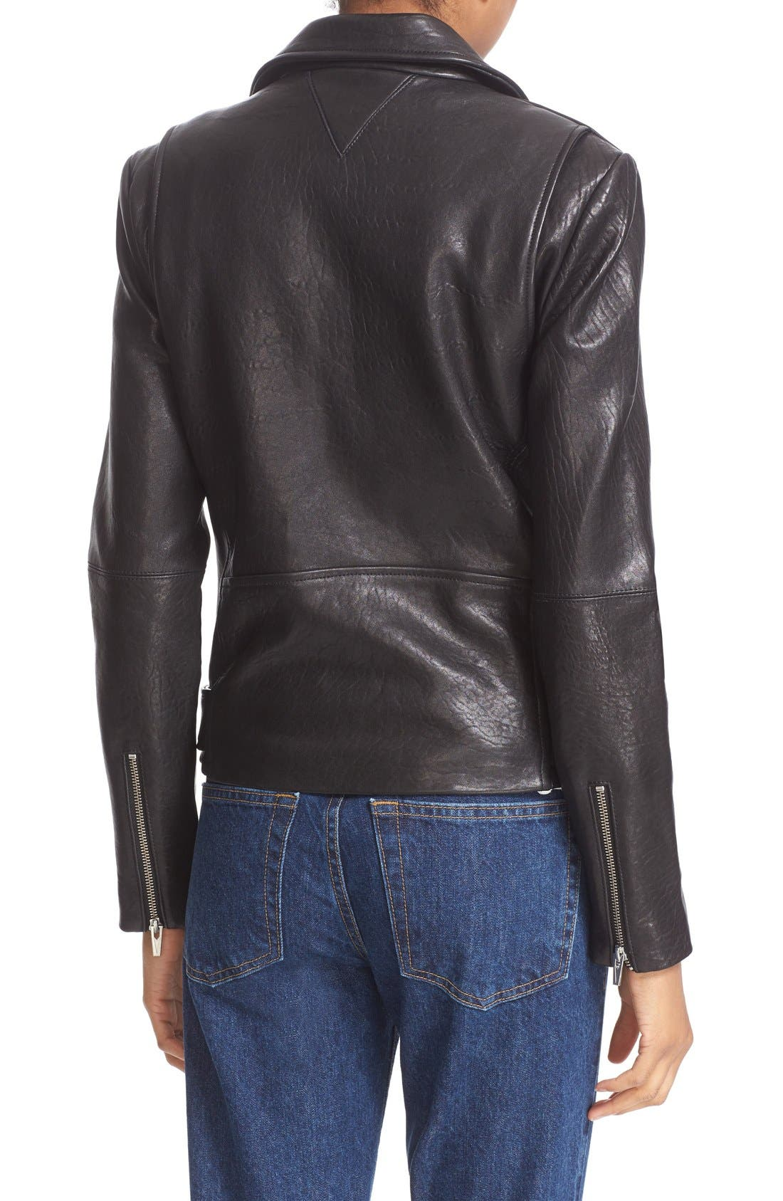 'Jayne' Lambskin Leather Moto Jacket,                             Alternate thumbnail 2, color,                             Black