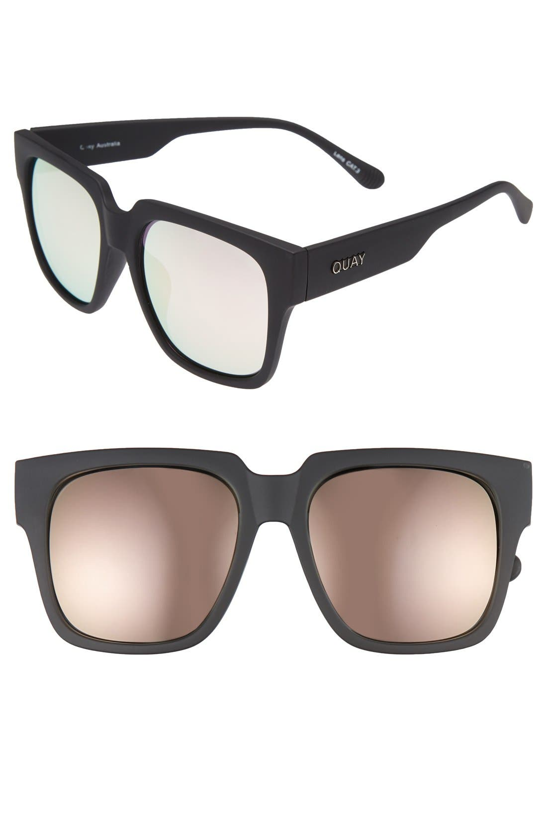 'On the Prowl' 55mm Square Sunglasses,                         Main,                         color, Black/ Pink Mirror