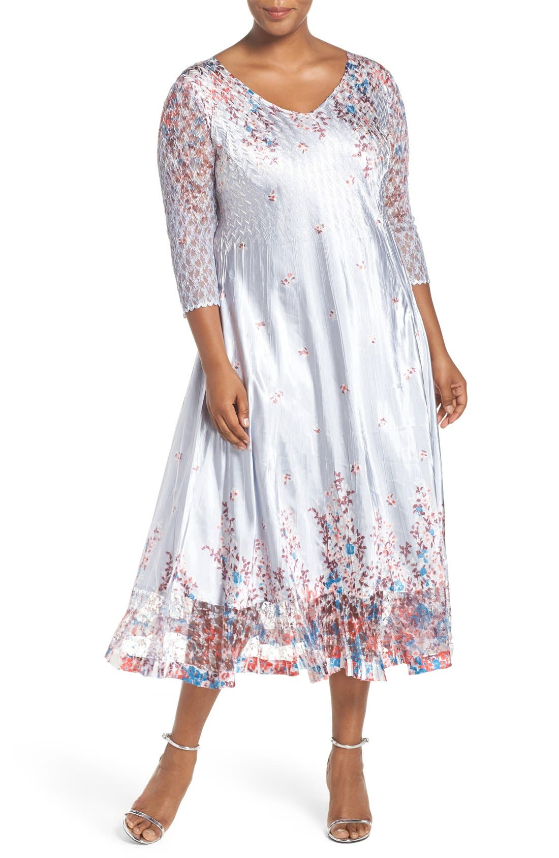 Print Lace & Charmeuse V-Neck Dress,                             Main thumbnail 1, color,                             Wild Aster