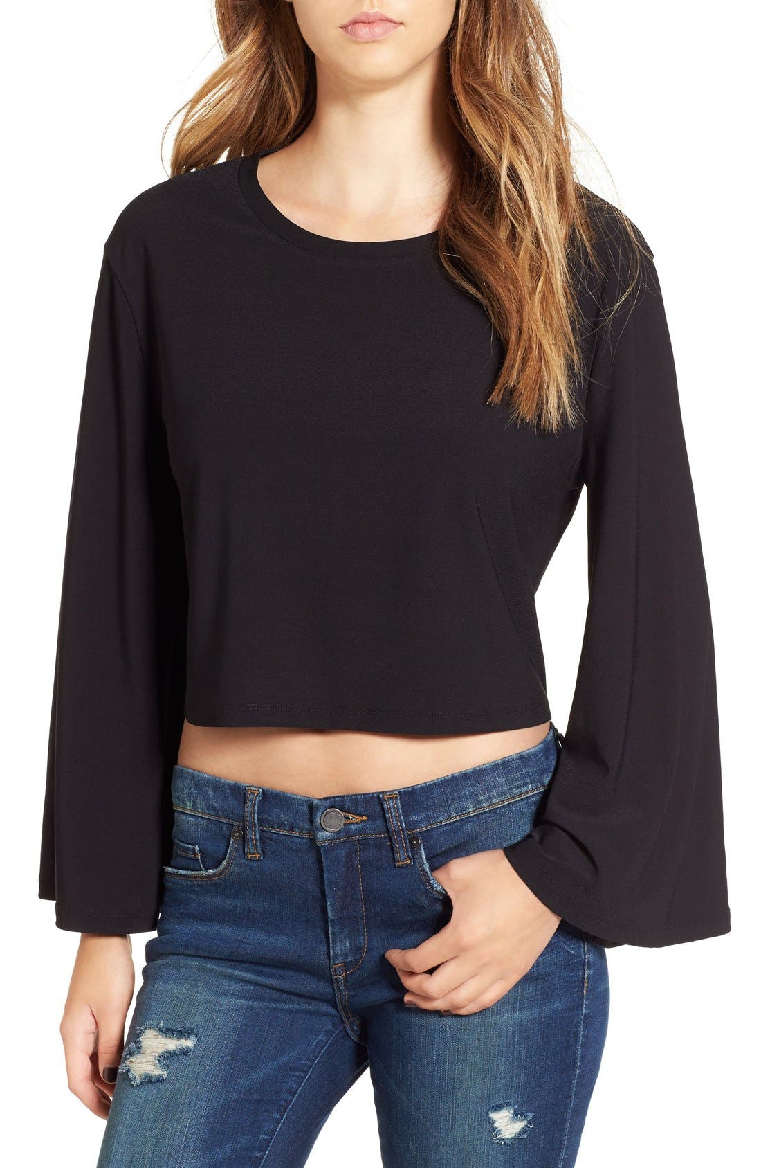 Main Image - Leith Bell Sleeve Crop Top