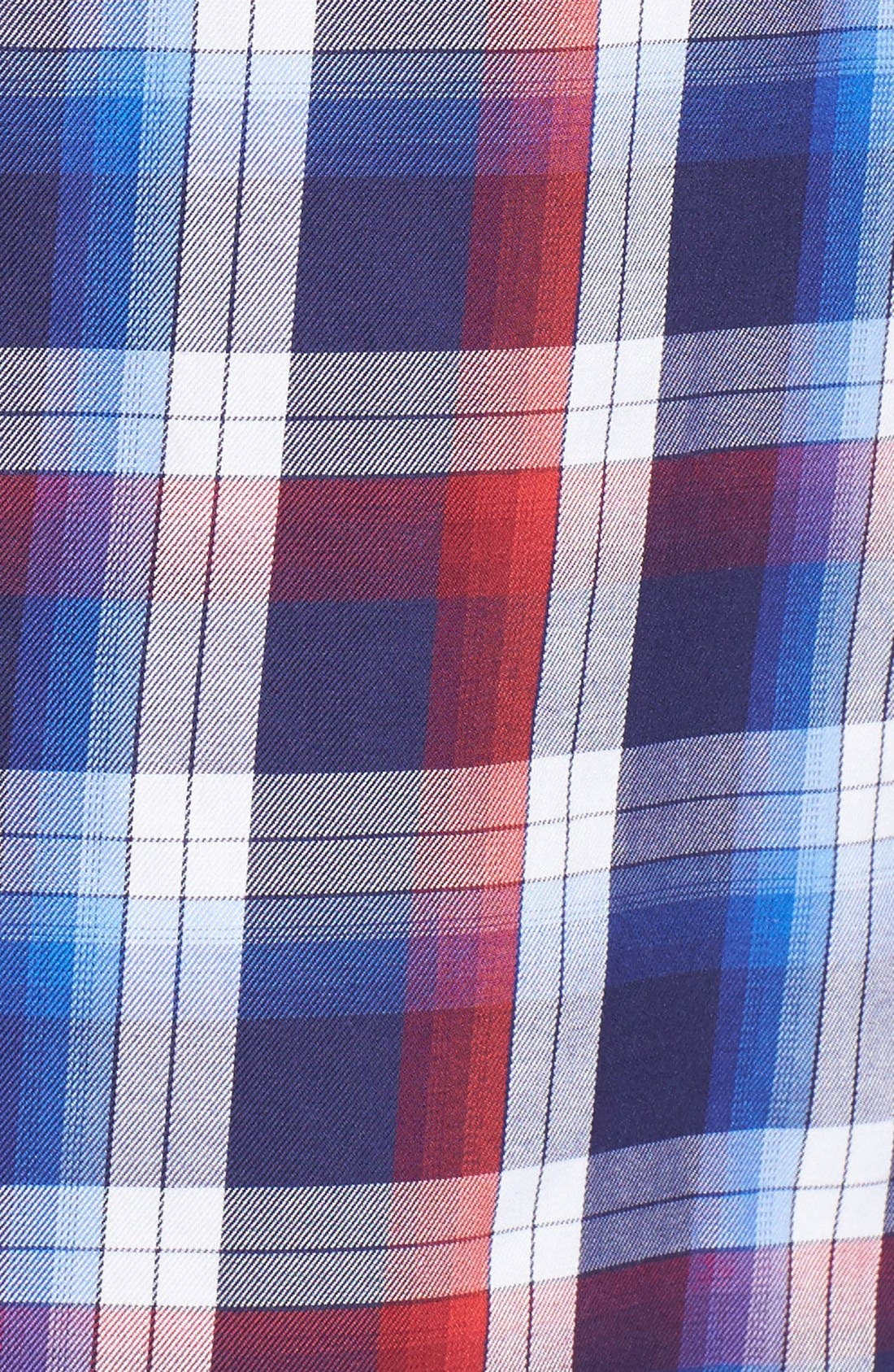 Slim Fit Plaid Sport Shirt,                             Alternate thumbnail 5, color,                             Red
