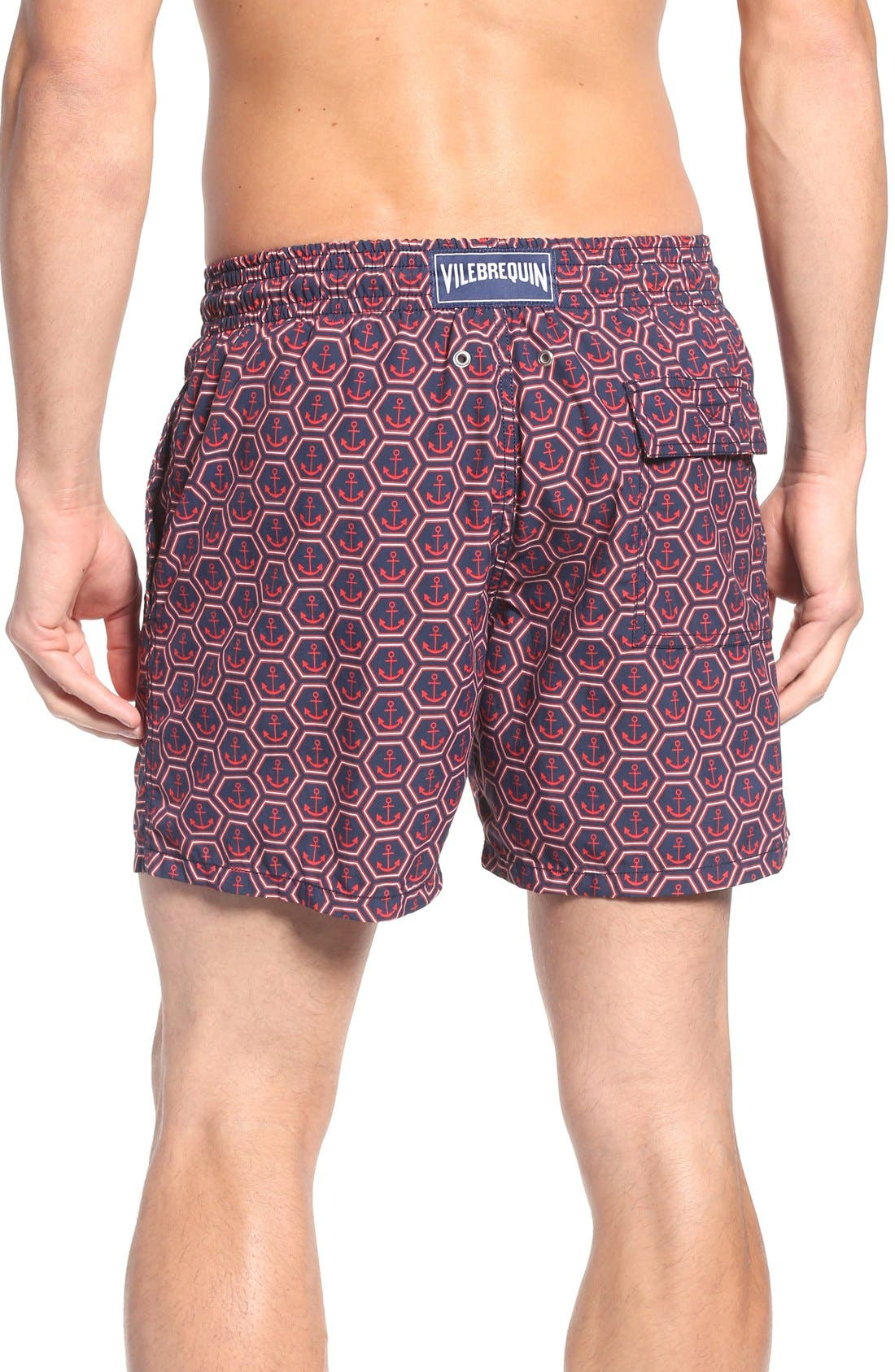 Anchor Print Swim Trunks,                             Alternate thumbnail 2, color,                             Navy