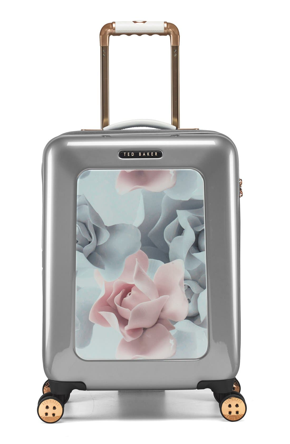 Main Image - Ted Baker London 'Small Porcelain Rose' Four Wheel Suitcase (22 Inch)