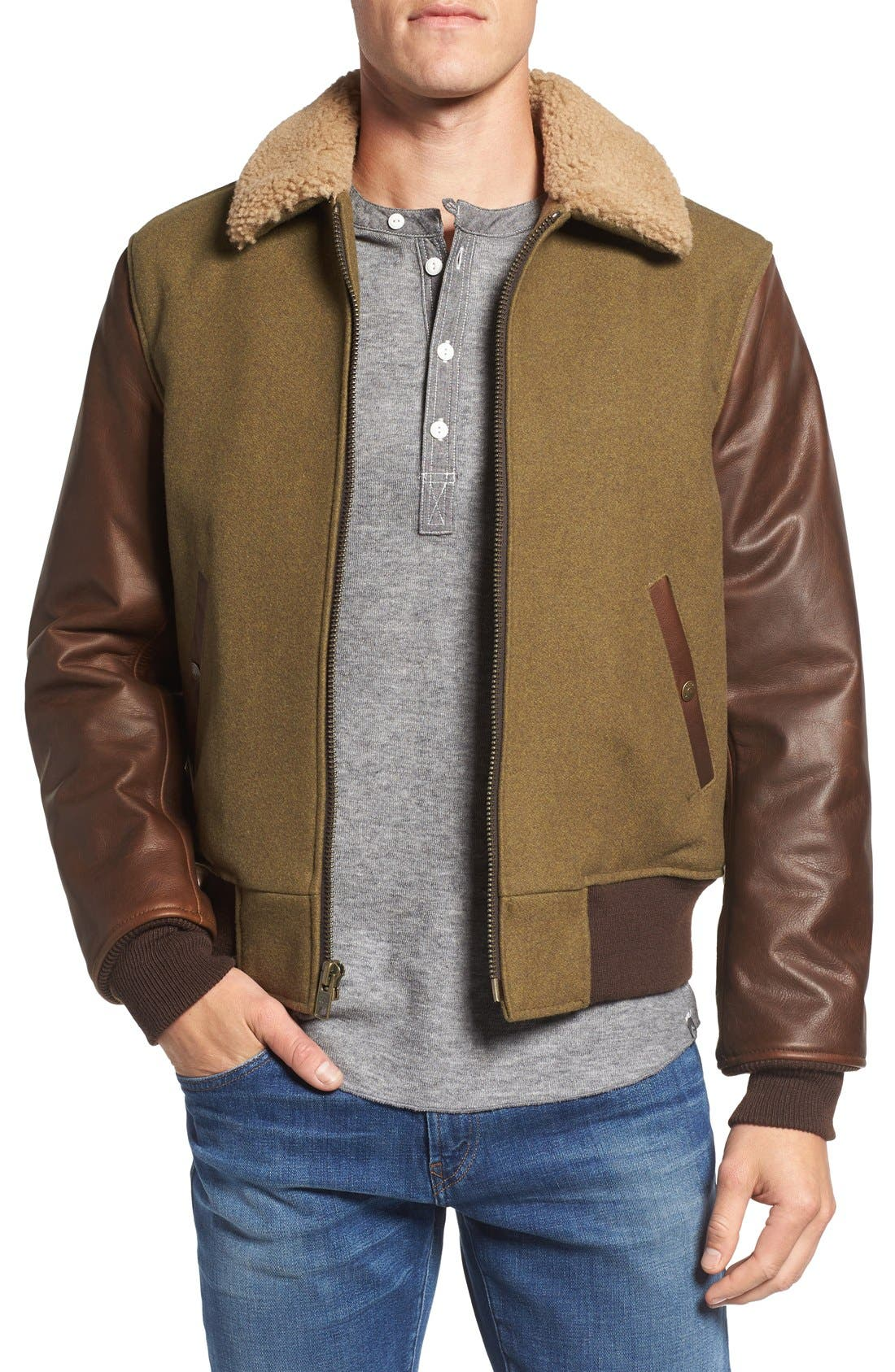 Mixed Media B-15 Flight Jacket with Genuine Shearling Collar,                         Main,                         color, Olive