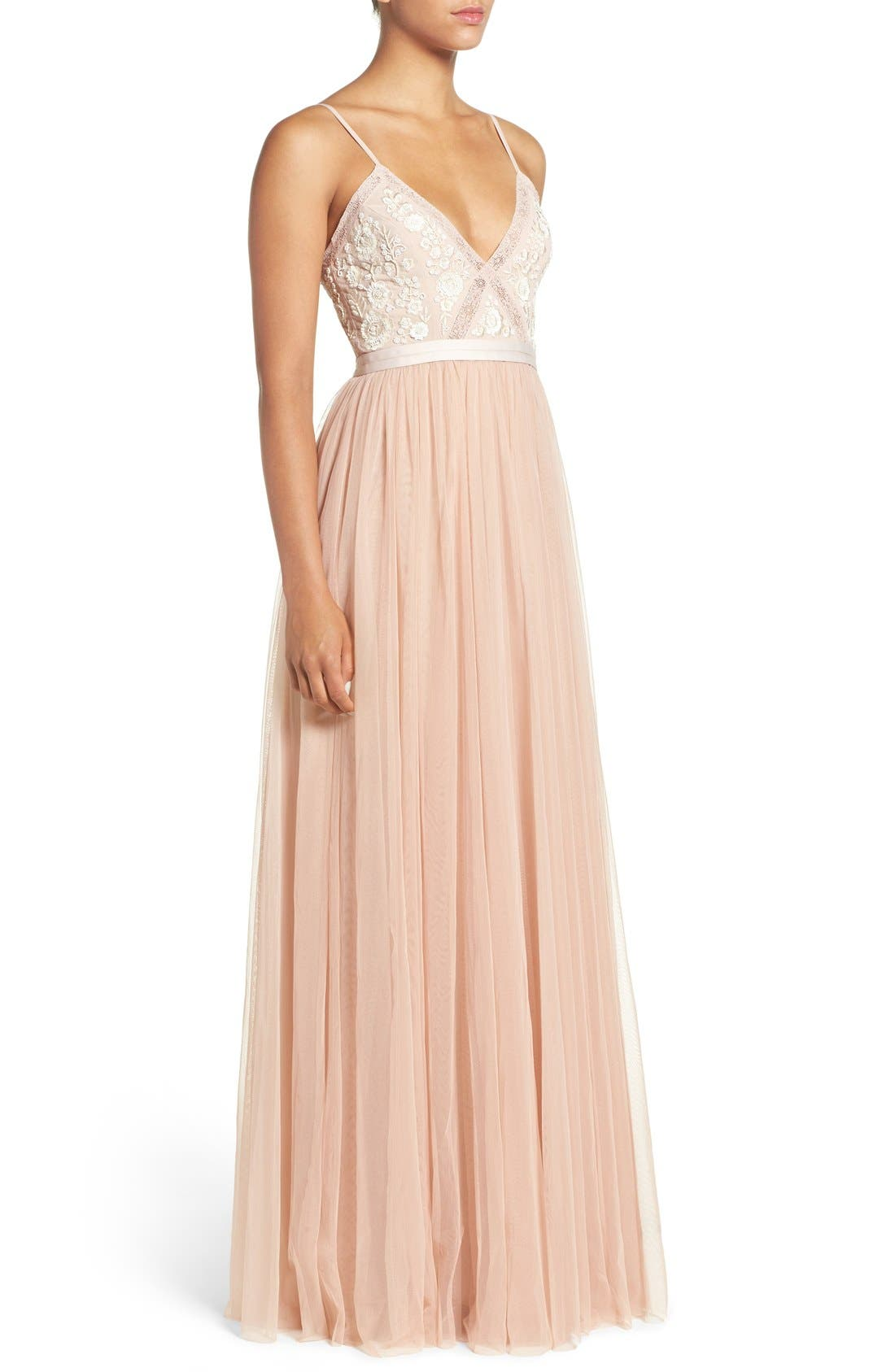 Alternate Image 3  - Needle & Thread Embroidered Bodice Tulle Gown
