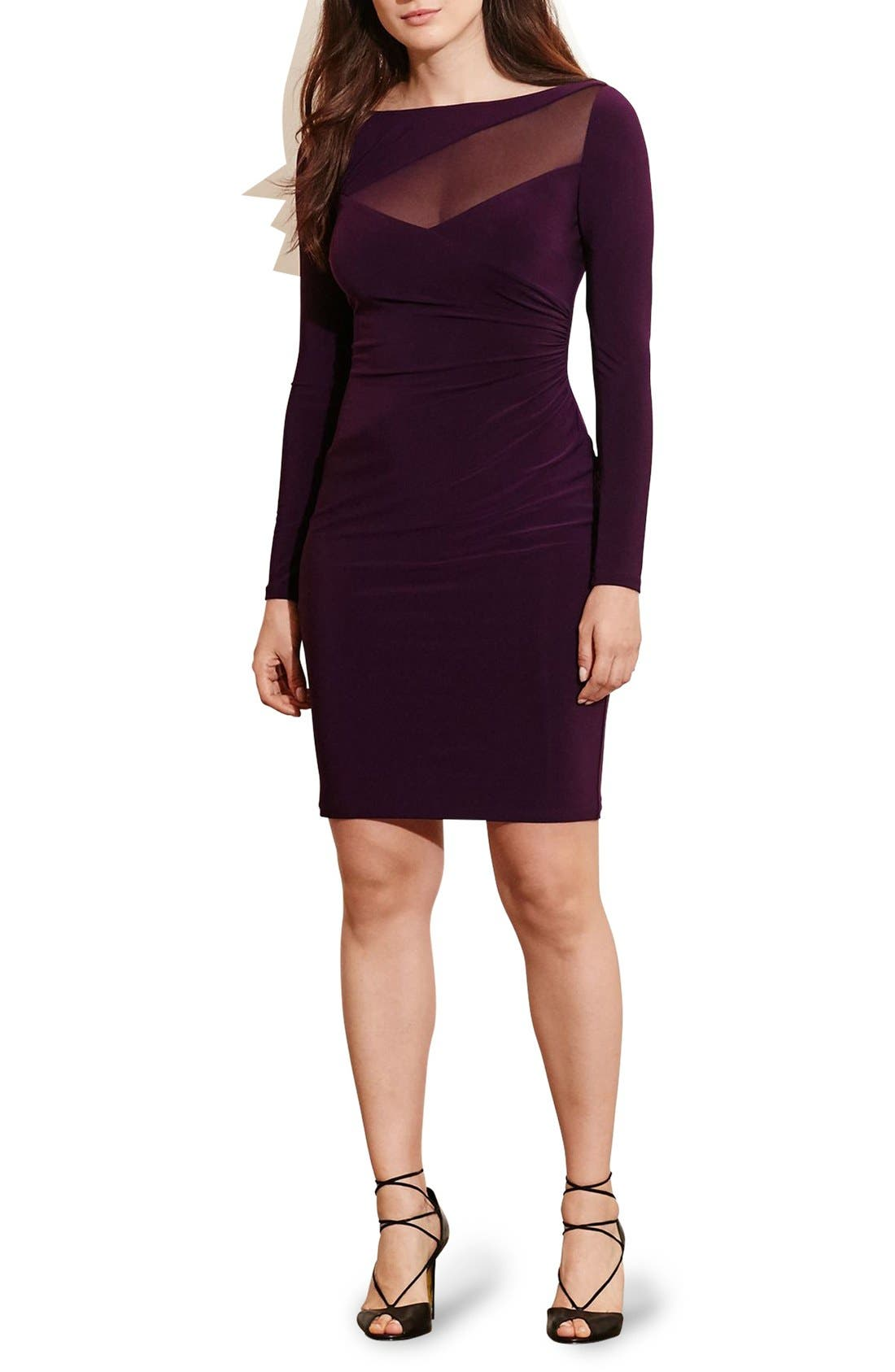 Alternate Image 3  - Lauren Ralph Lauren Mesh Inset Side Pleat Jersey Dress (Plus Size)