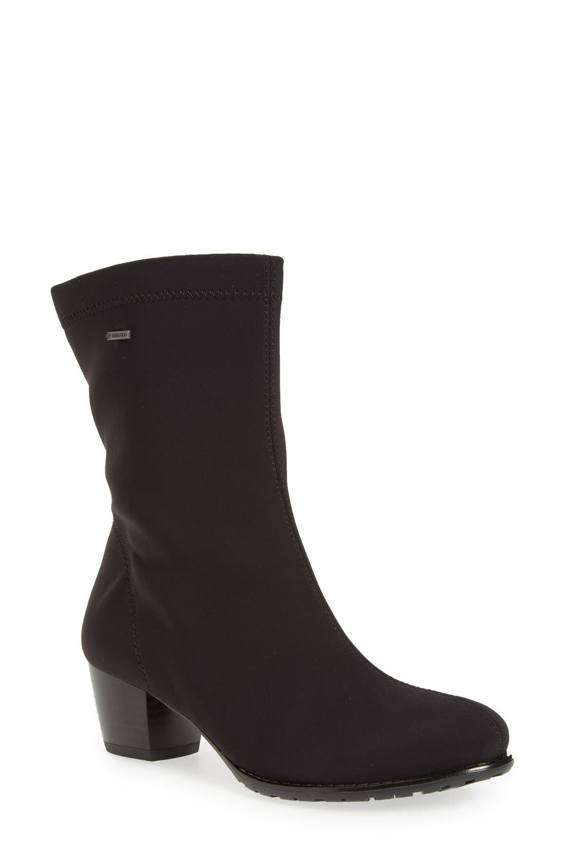 'Fairfax' Waterproof Gore-Tex<sup>®</sup> Block Heel Boot,                             Main thumbnail 1, color,                             Black Fabric