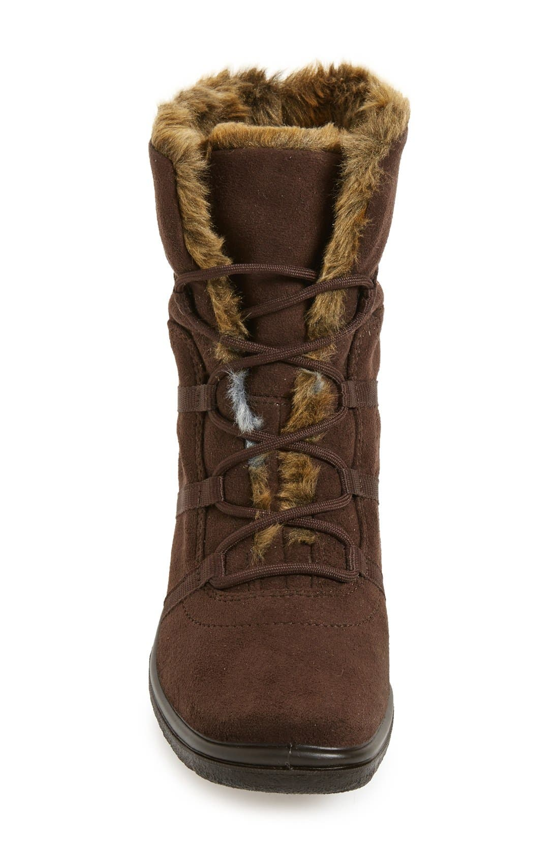 'Magaly' Waterproof Gore-Tex<sup>®</sup> Faux Fur Boot,                             Alternate thumbnail 3, color,                             Brown Fabric