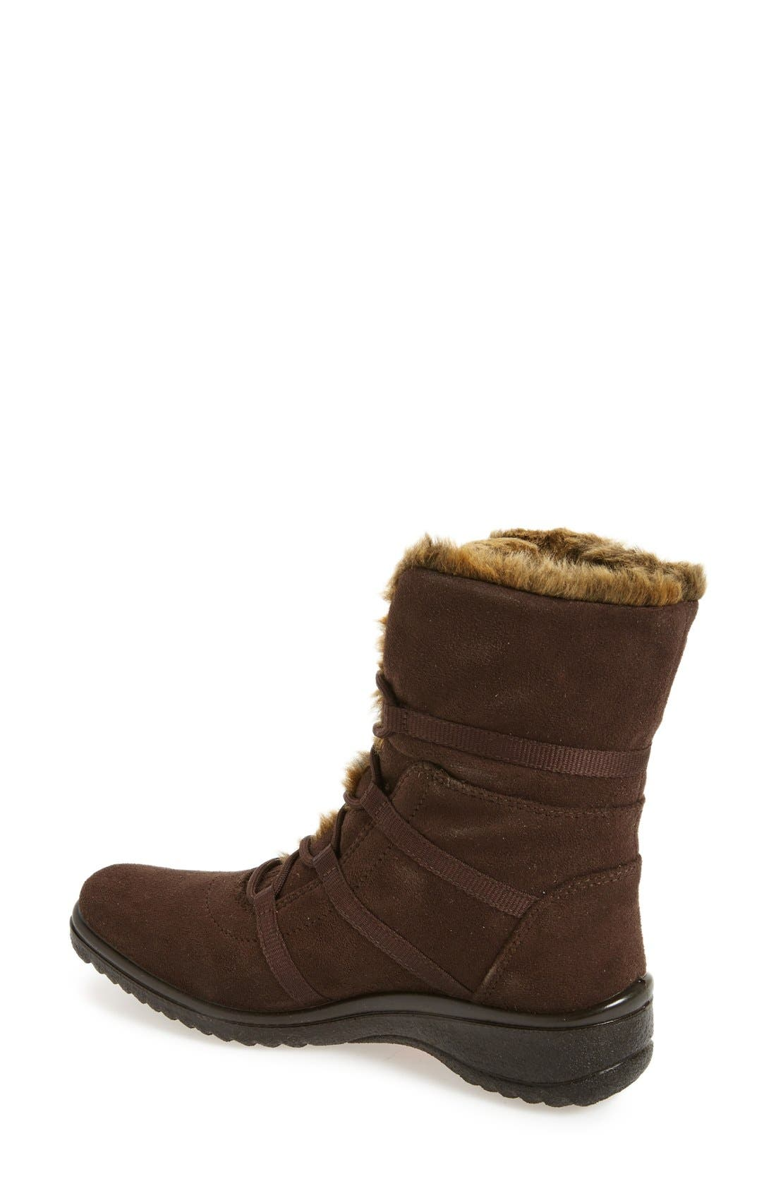'Magaly' Waterproof Gore-Tex<sup>®</sup> Faux Fur Boot,                             Alternate thumbnail 2, color,                             Brown Fabric