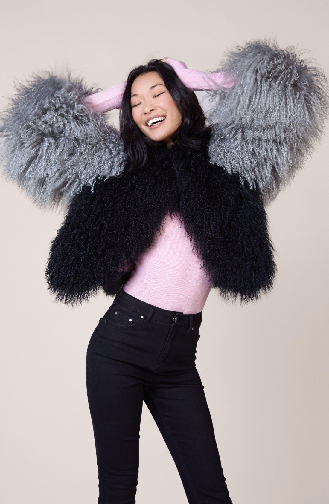 Alternate Image 2  - Charlotte Simone 'Classic Fuzz' Genuine Mongolian Lamb Fur Bolero