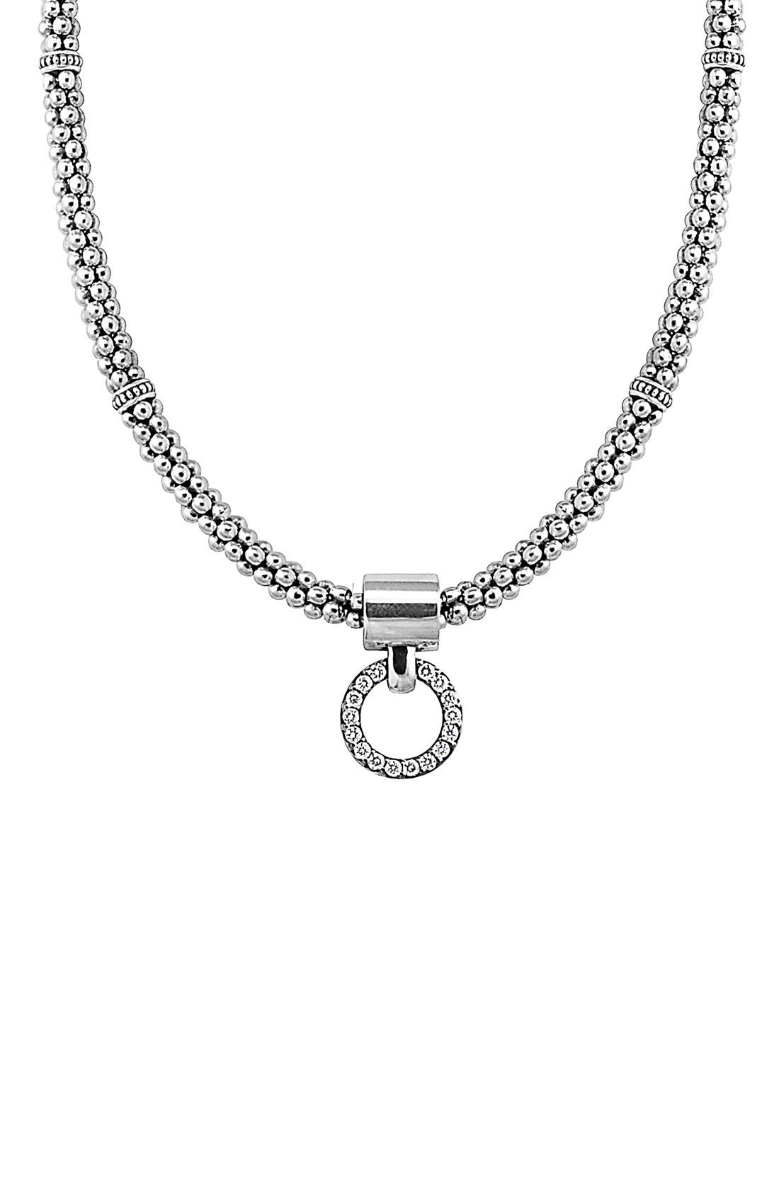 'Enso' Diamond Pendant Necklace,                             Main thumbnail 1, color,                             Silver