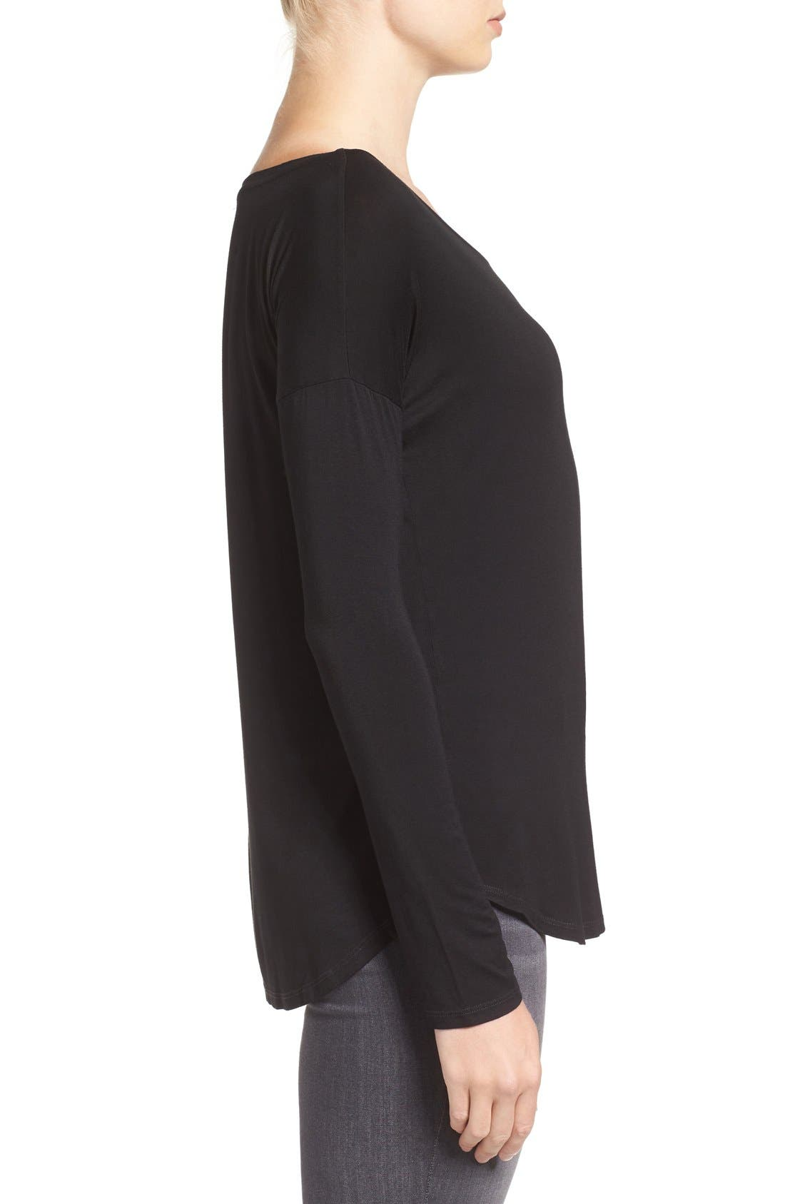 'Bess' Stretch Jersey Boatneck Tee,                             Alternate thumbnail 3, color,                             Black