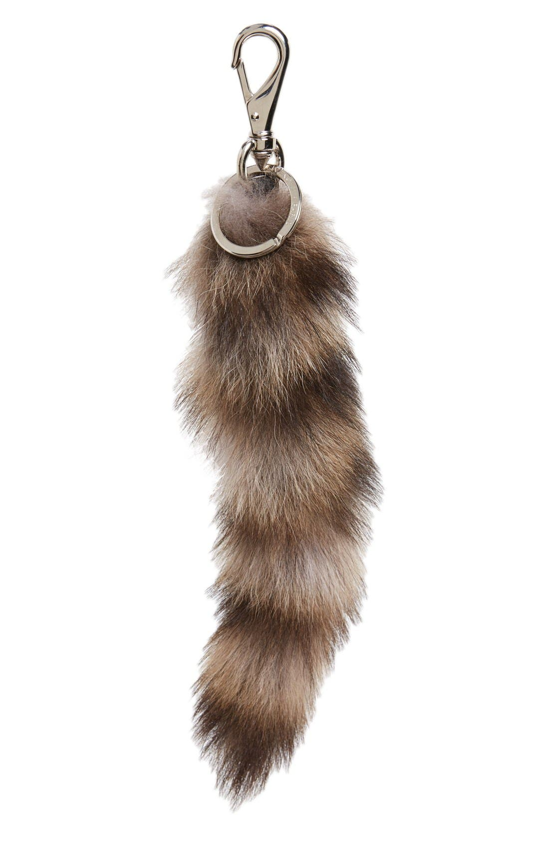 Genuine Raccoon Tail Bag Charm,                             Main thumbnail 1, color,                             Natural/ Brown