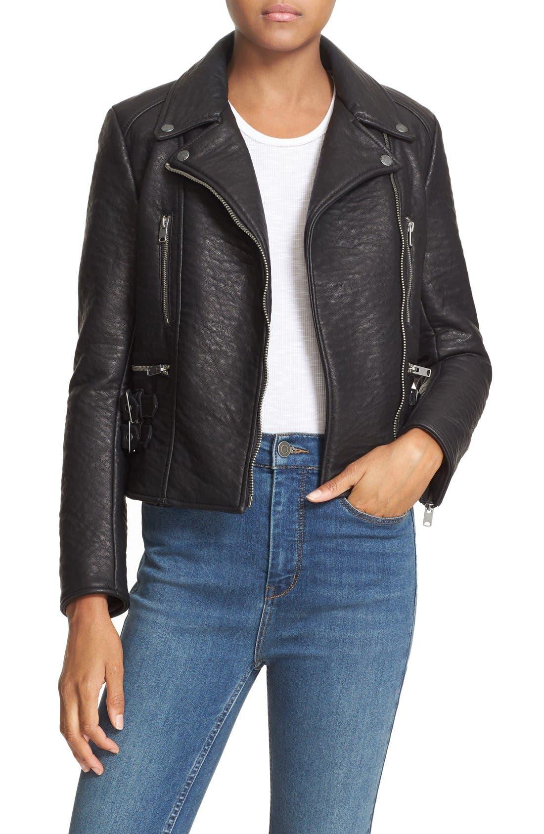'Soho' Faux Leather Moto Jacket,                             Main thumbnail 1, color,                             Black