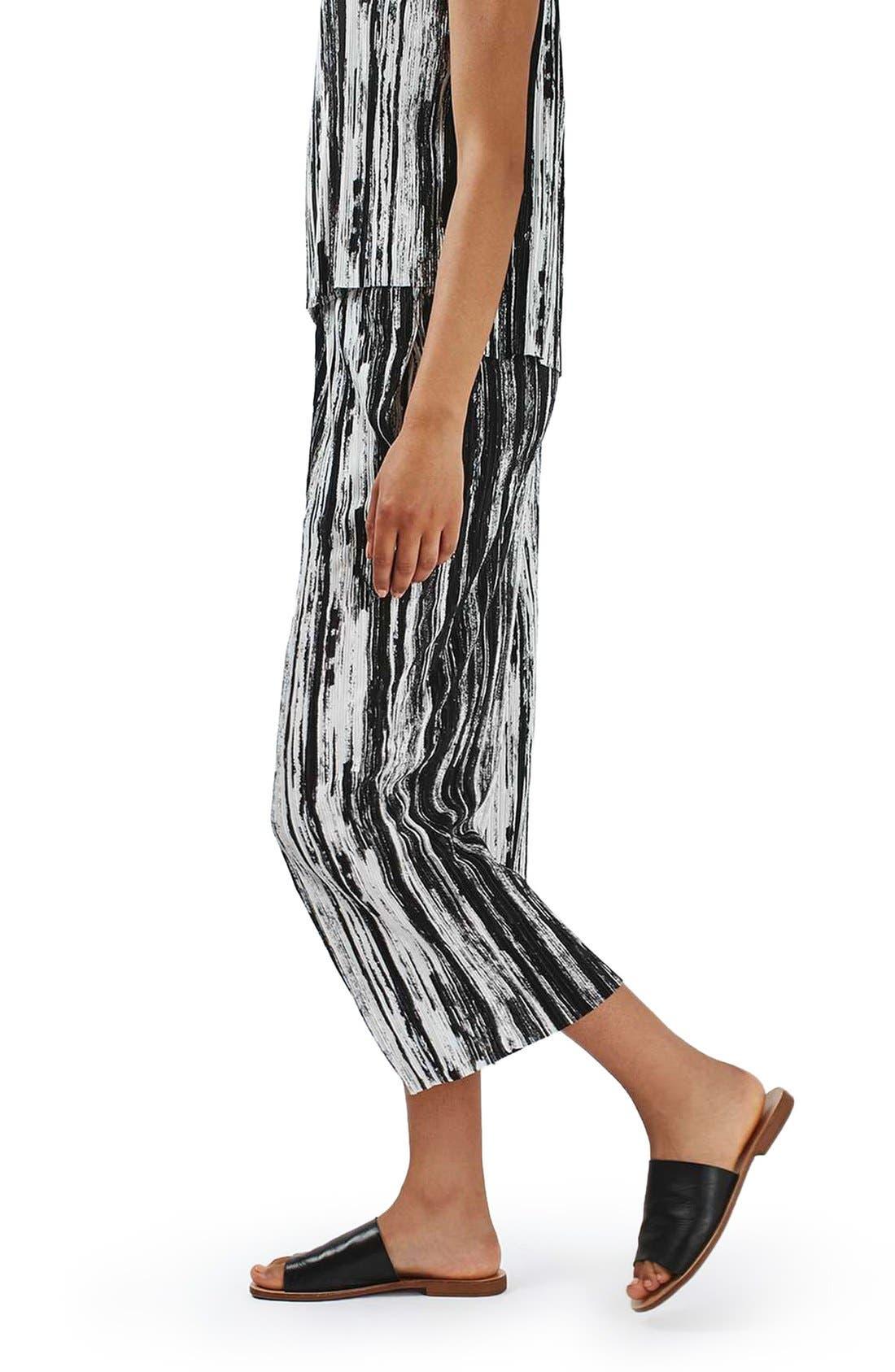Alternate Image 4  - Topshop Scratch Stripe Plissé Trousers (Petite)