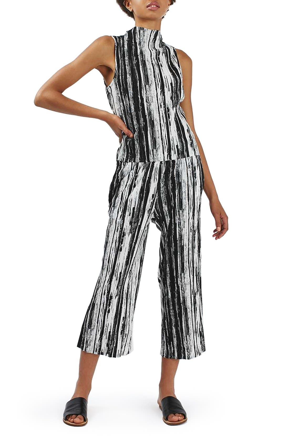 Alternate Image 2  - Topshop Scratch Stripe Plissé Trousers (Petite)