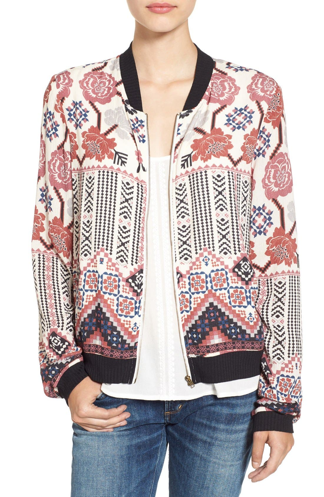 Print Bomber Jacket,                         Main,                         color, Ivory/ Taupe/ Rust