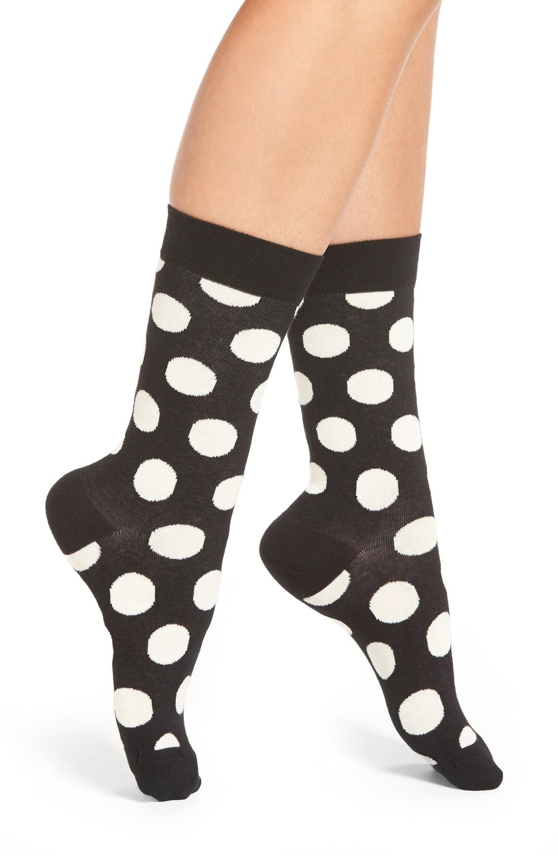 'Big Dot' Crew Socks,                         Main,                         color, Black