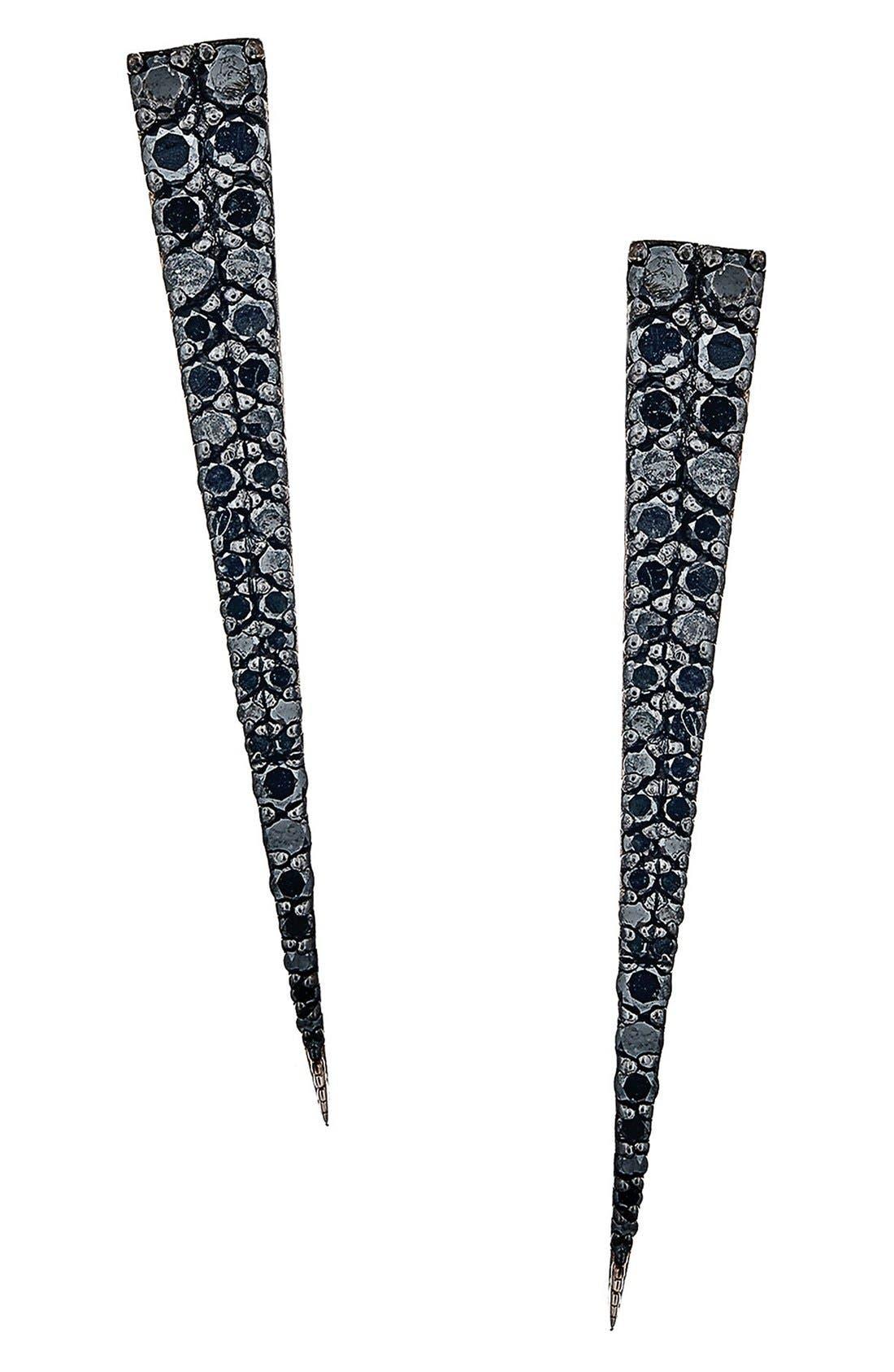 'Reckless' Diamond Spike Earrings,                             Main thumbnail 1, color,                             Black