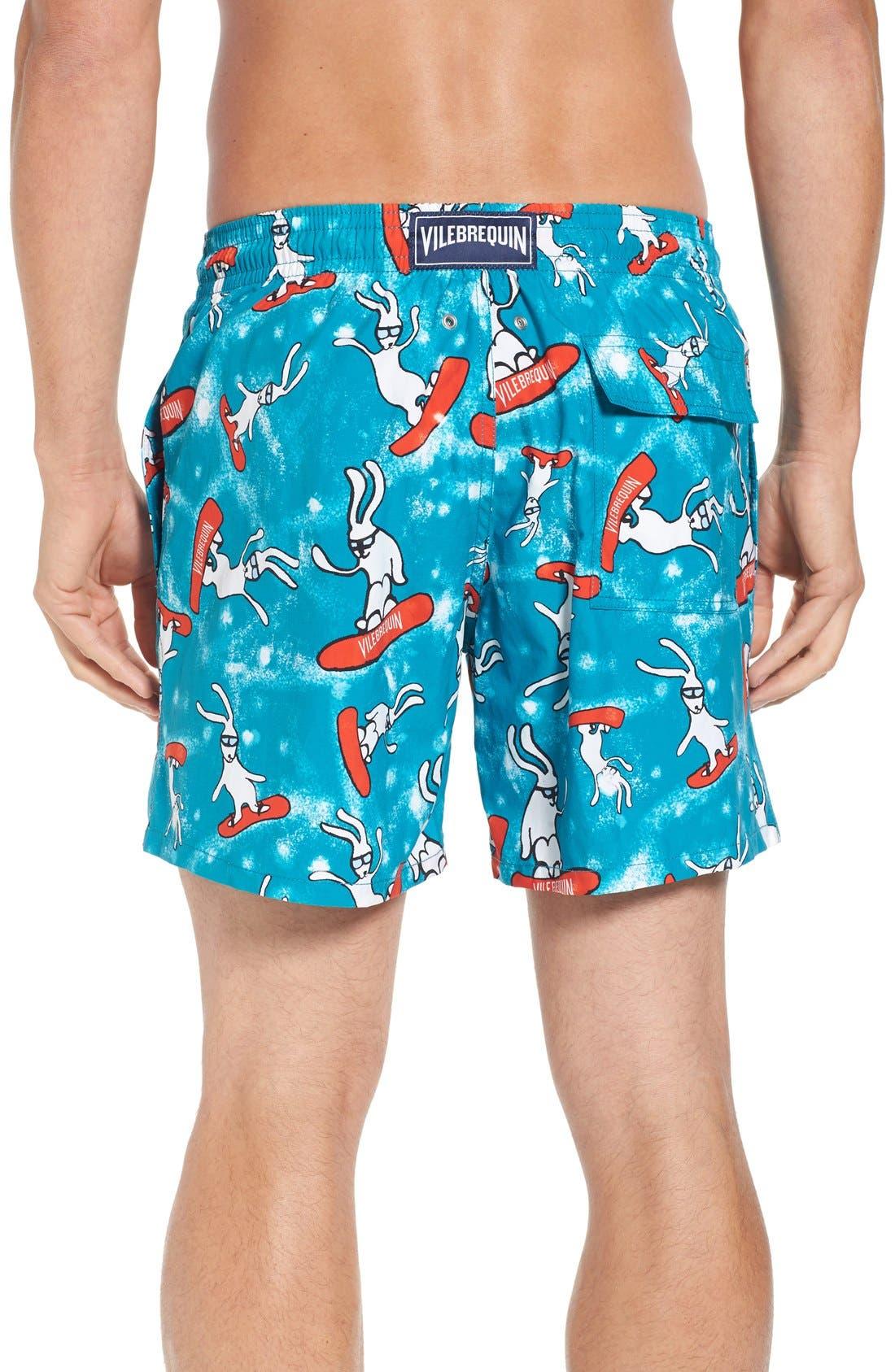 Snowboard Bunnies Print Swim Trunks,                             Alternate thumbnail 2, color,                             Prussian Blue
