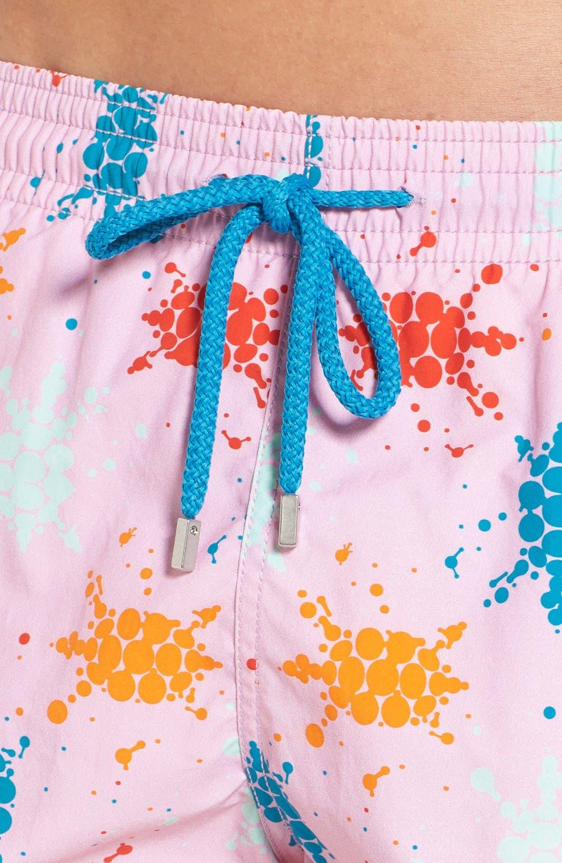 Japan Turtles Print Swim Trunks,                             Alternate thumbnail 4, color,                             Pink Quartz