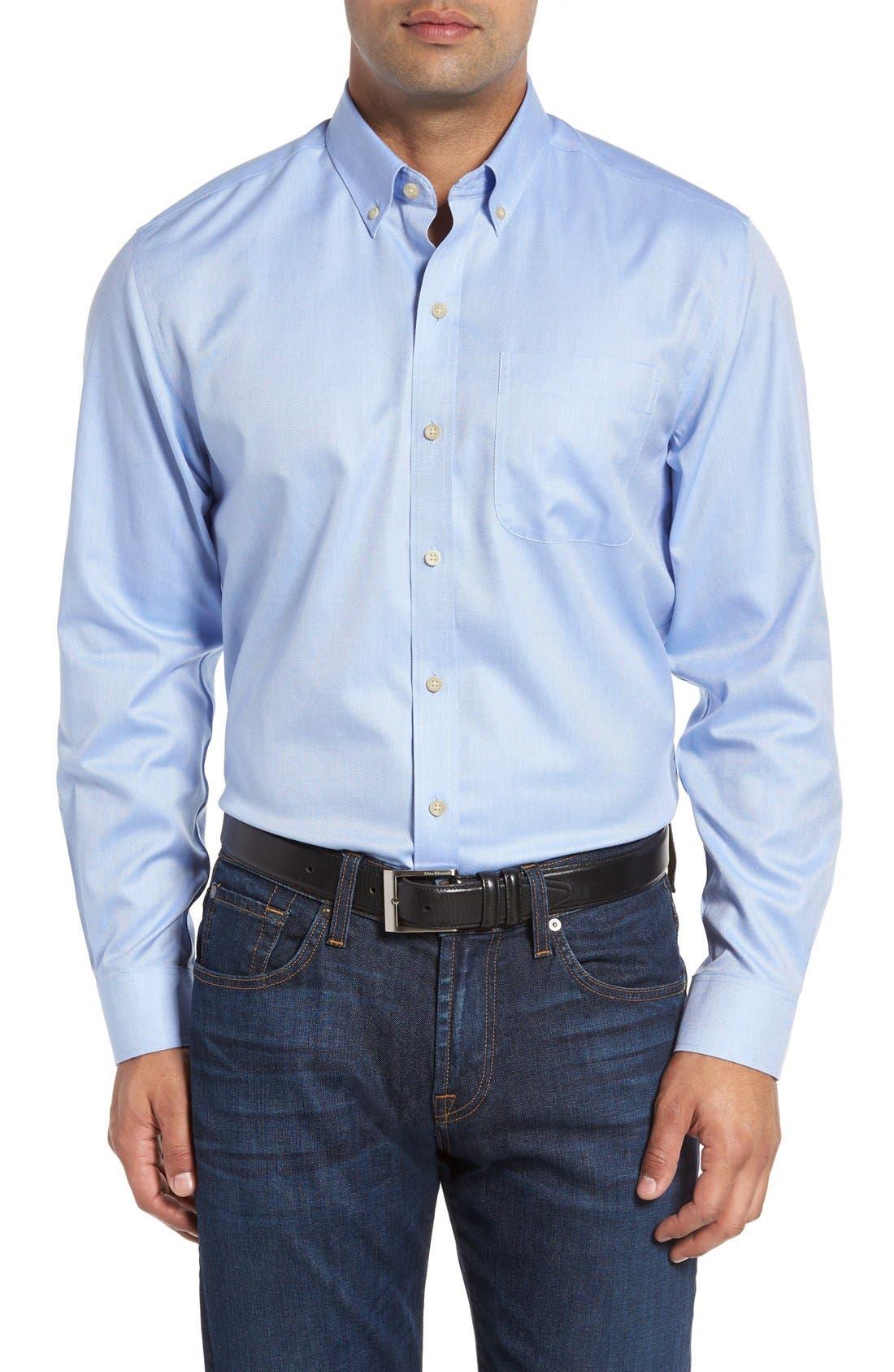 San Juan Classic Fit Wrinkle Free Solid Sport Shirt,                         Main,                         color, Blue