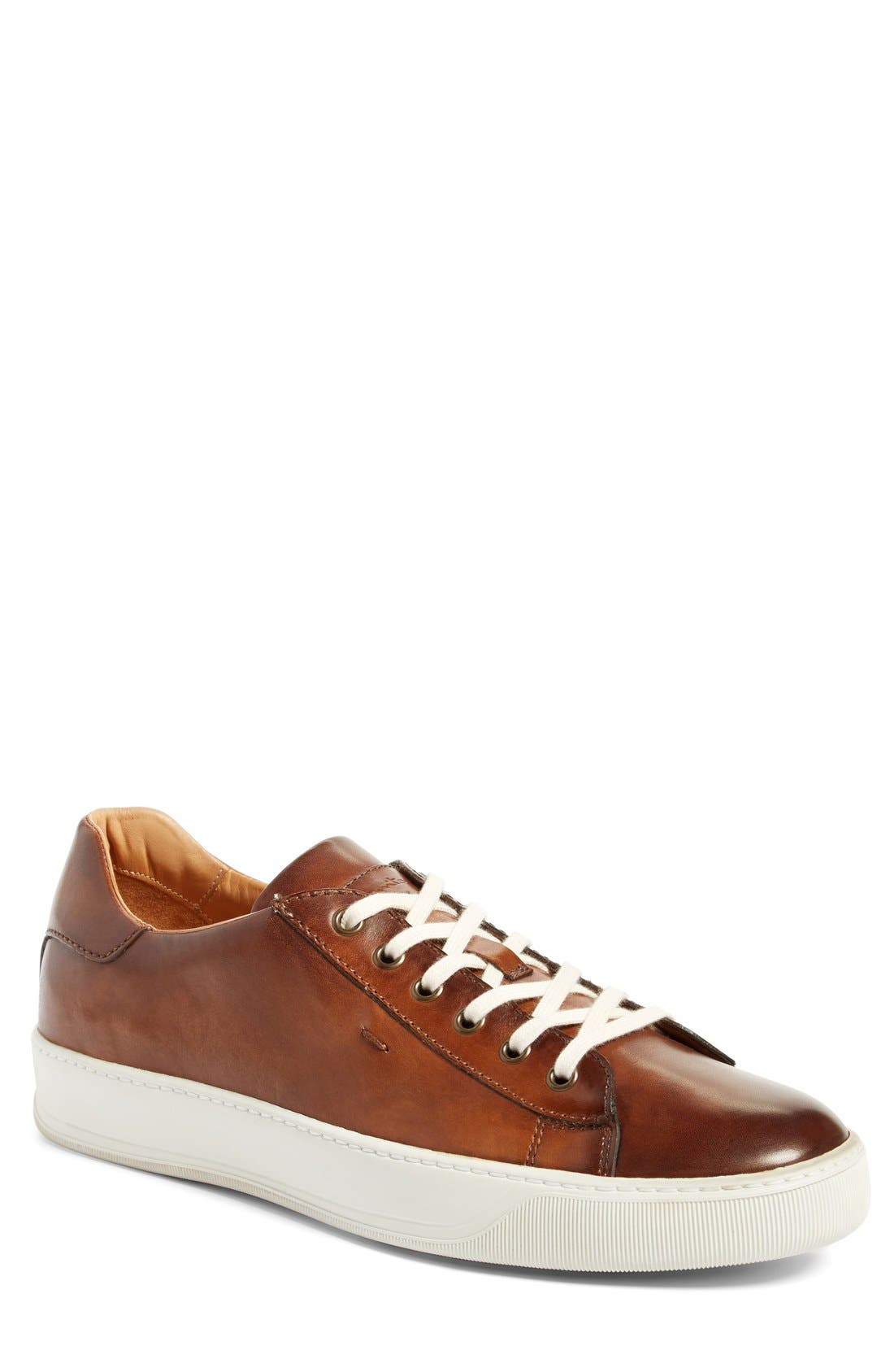 'Apache' Lace-Up Sneaker,                             Main thumbnail 1, color,                             Brown Leather
