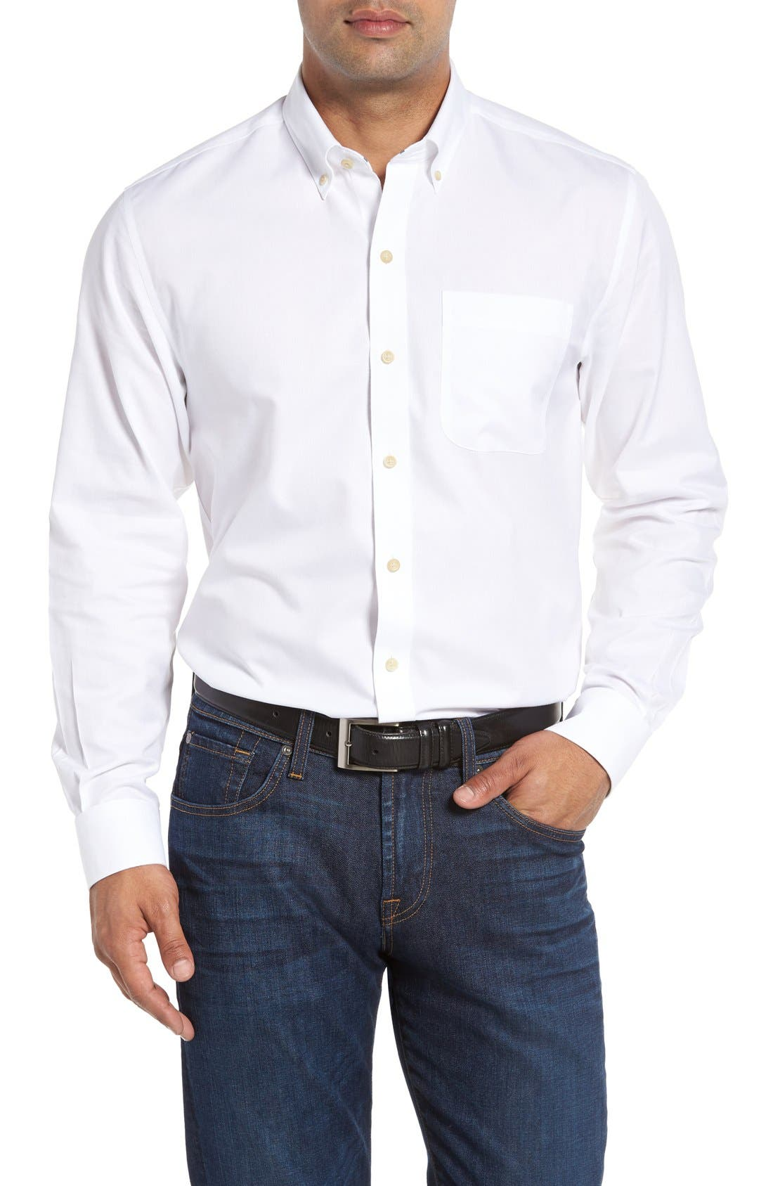 San Juan Classic Fit Wrinkle Free Solid Sport Shirt,                             Main thumbnail 1, color,                             White