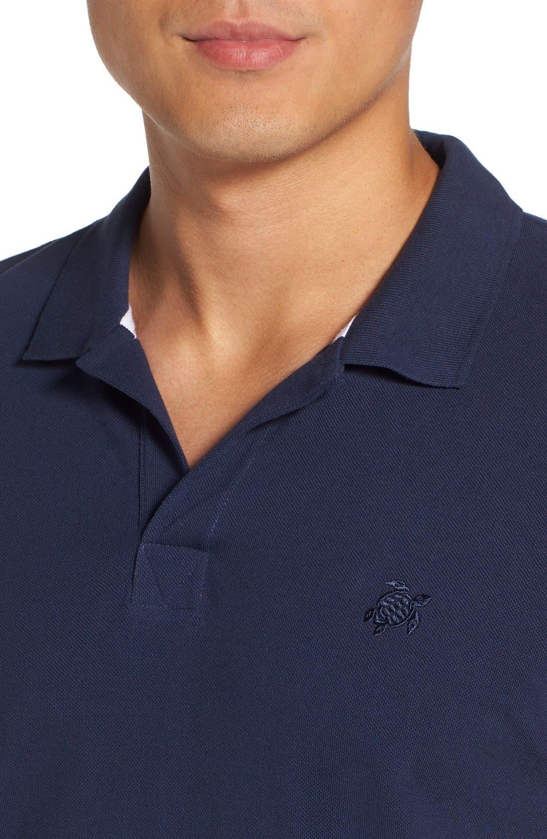 Logo Piqué Polo,                             Alternate thumbnail 4, color,                             Navy