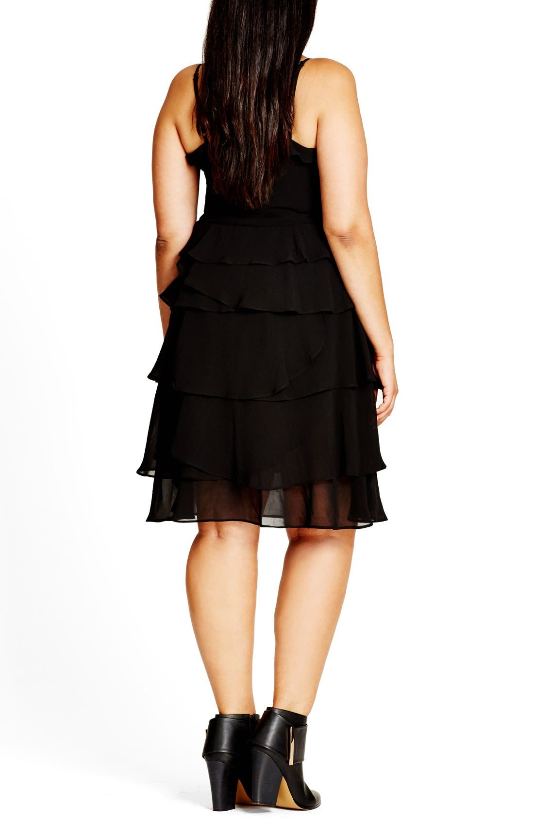 Lace-Up Ruffle Fit & Flare Dress,                             Alternate thumbnail 2, color,                             Black