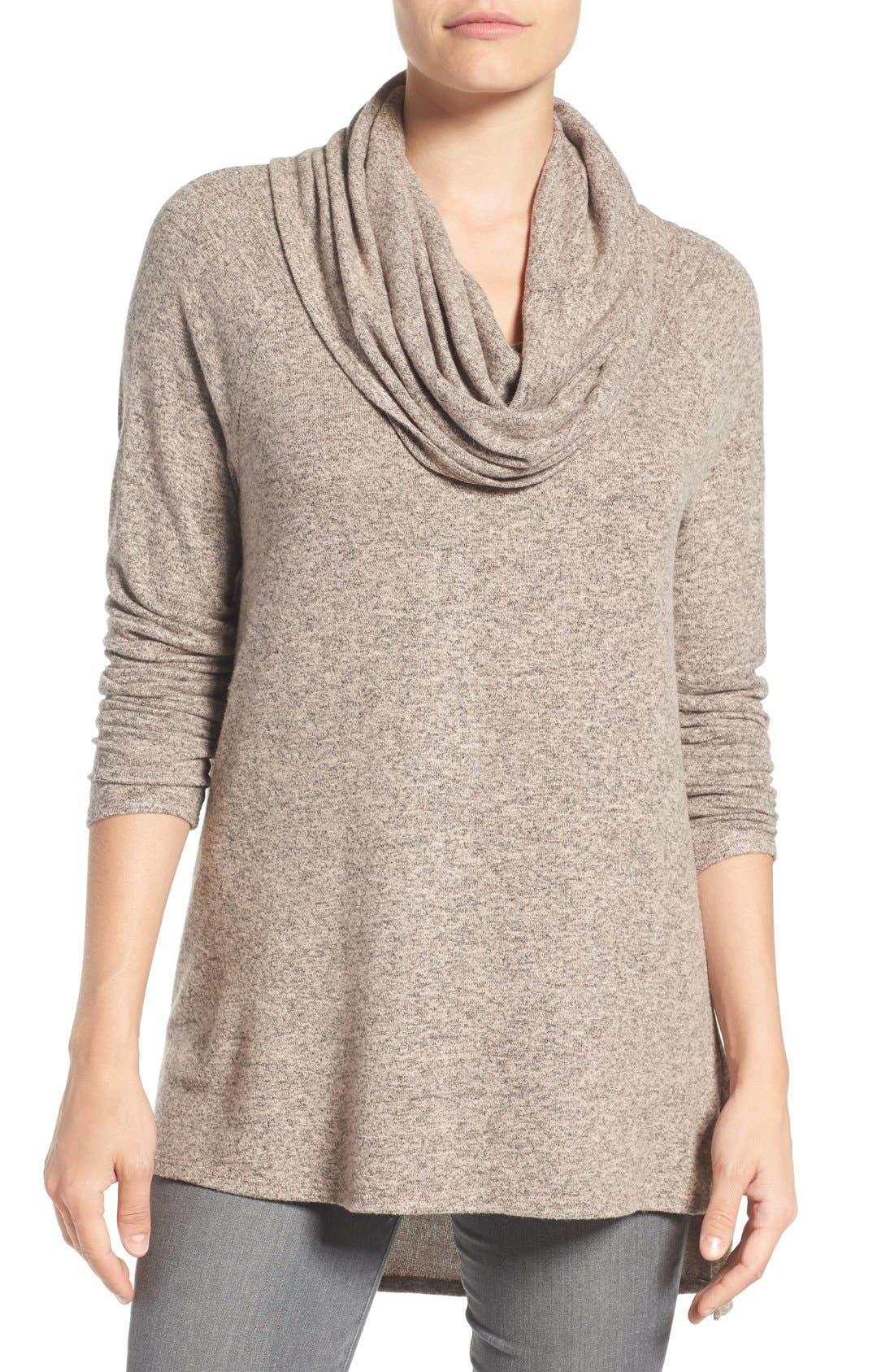 GIBSON Convertible Neckline Cozy Fleece Tunic