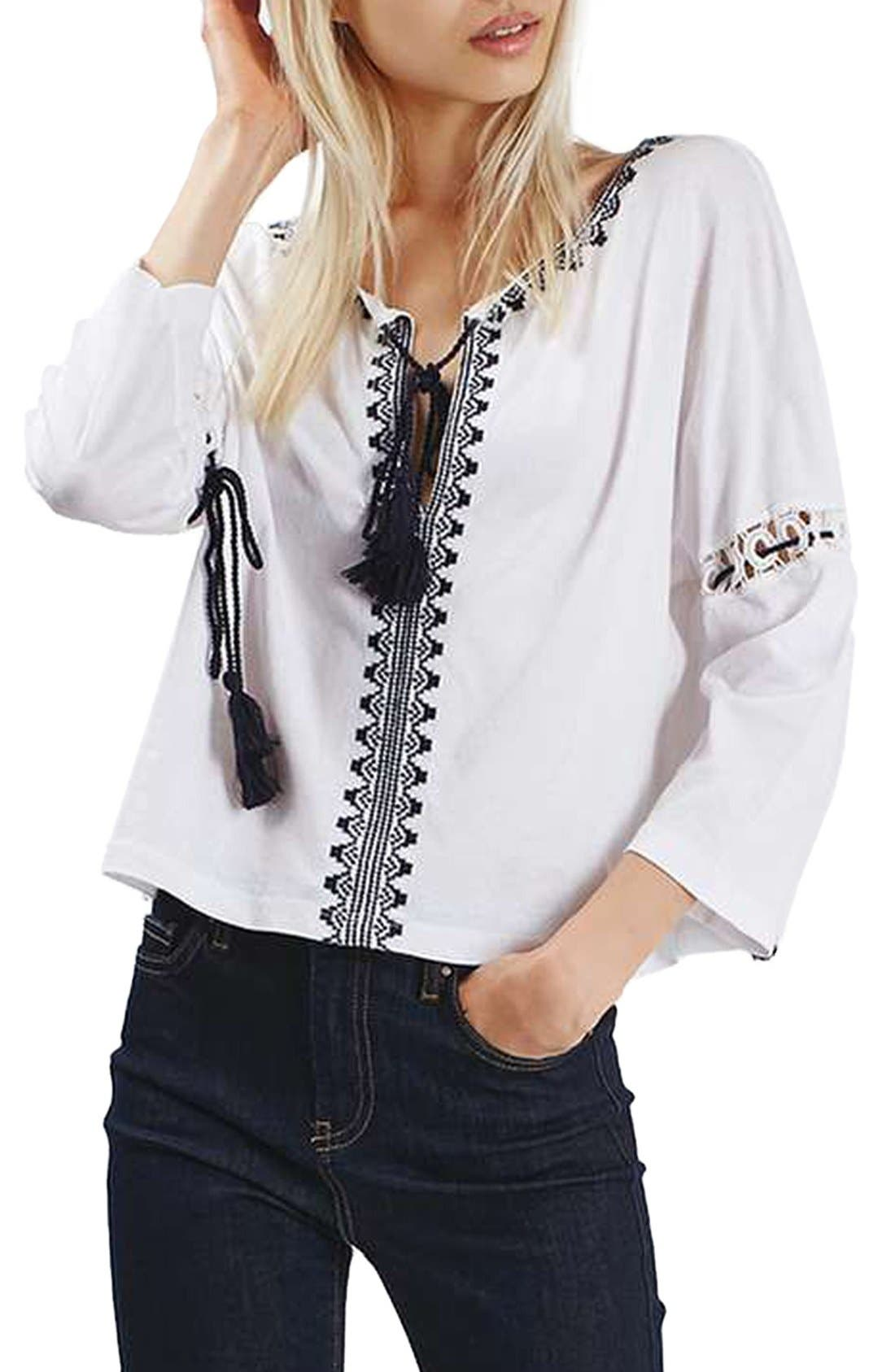 Embroidered Tassel Peasant Top,                             Main thumbnail 1, color,                             Cream