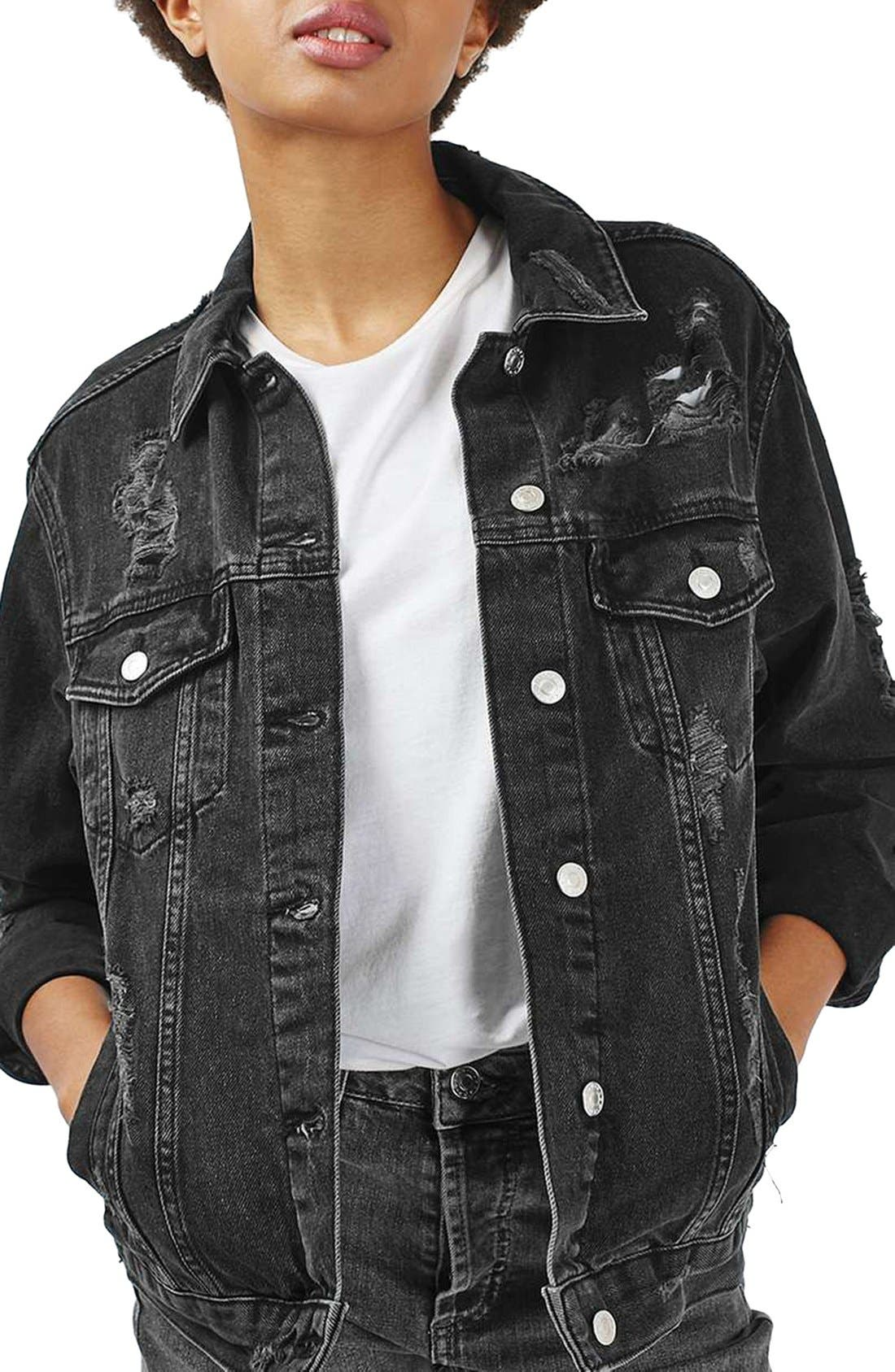Alternate Image 1 Selected - Topshop Moto Ripped Oversize Denim Jacket