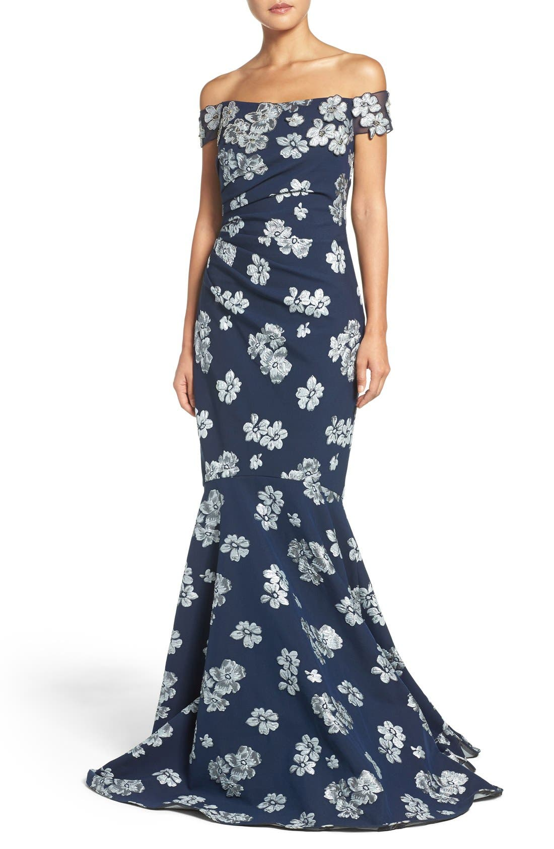 Main Image - Badgley Mischka Off the Shoulder Floral Mermaid Gown