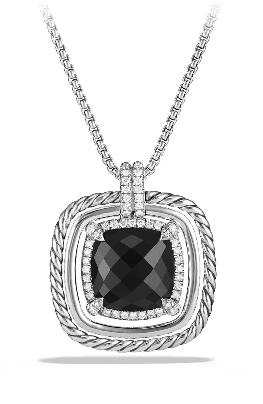 'Châtelaine' Large Pavé Bezel Pendant Necklace with Diamonds,                             Main thumbnail 1, color,                             Black Onyx