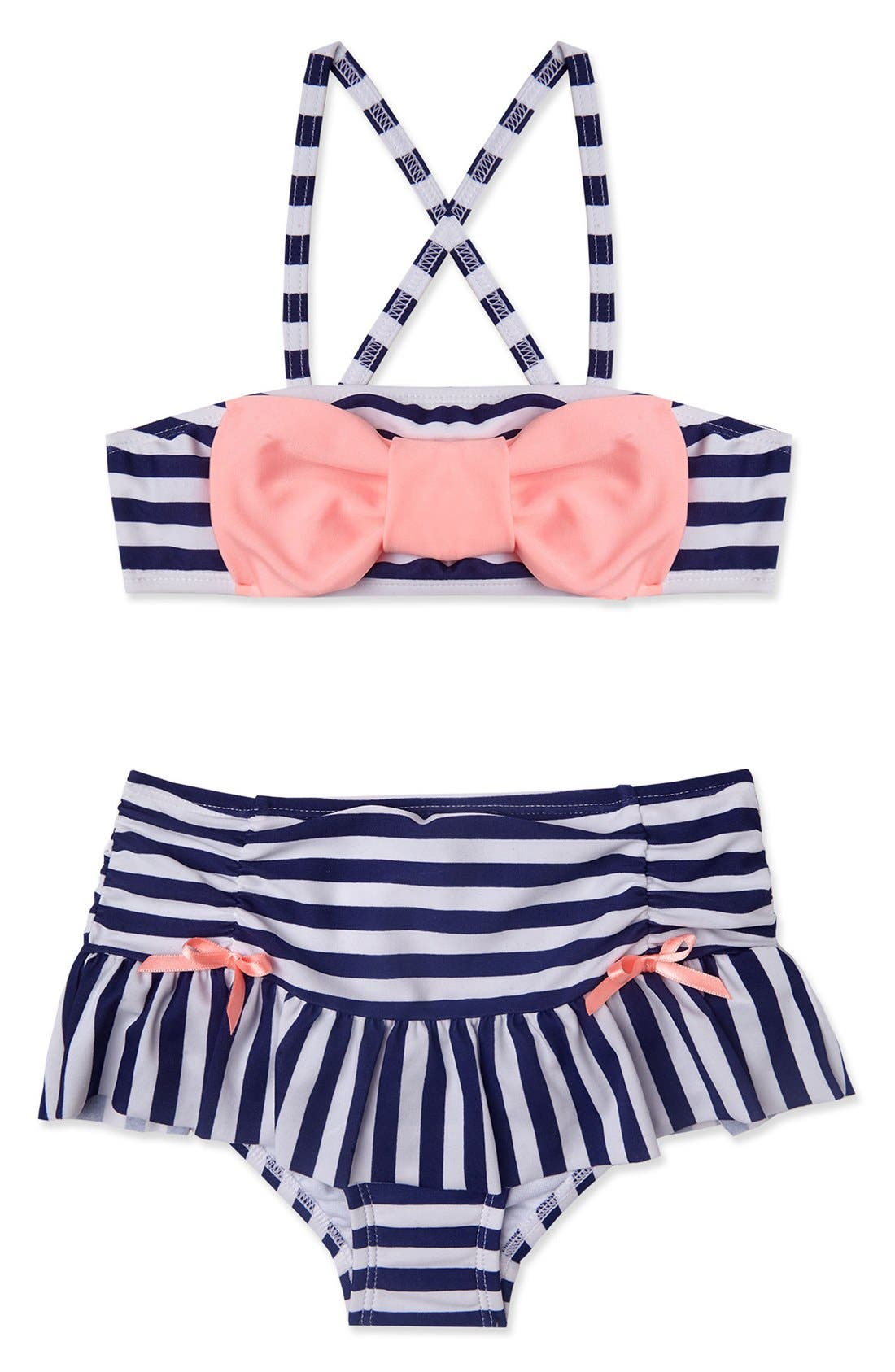 'Ships Ahoy' Two-Piece Swimsuit,                             Main thumbnail 1, color,                             Navy White